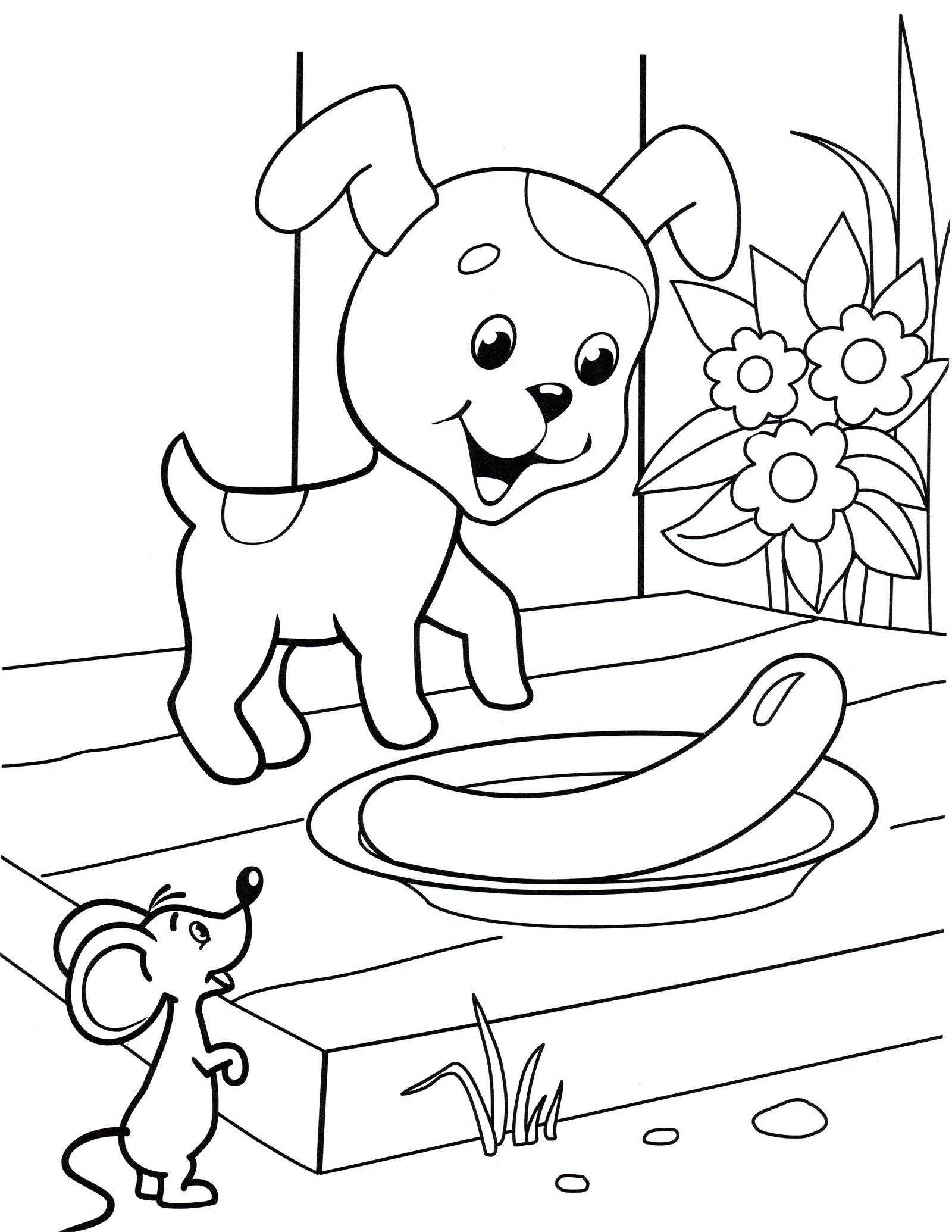 Раскраска Щенок и сосиска - распечатать бесплатно