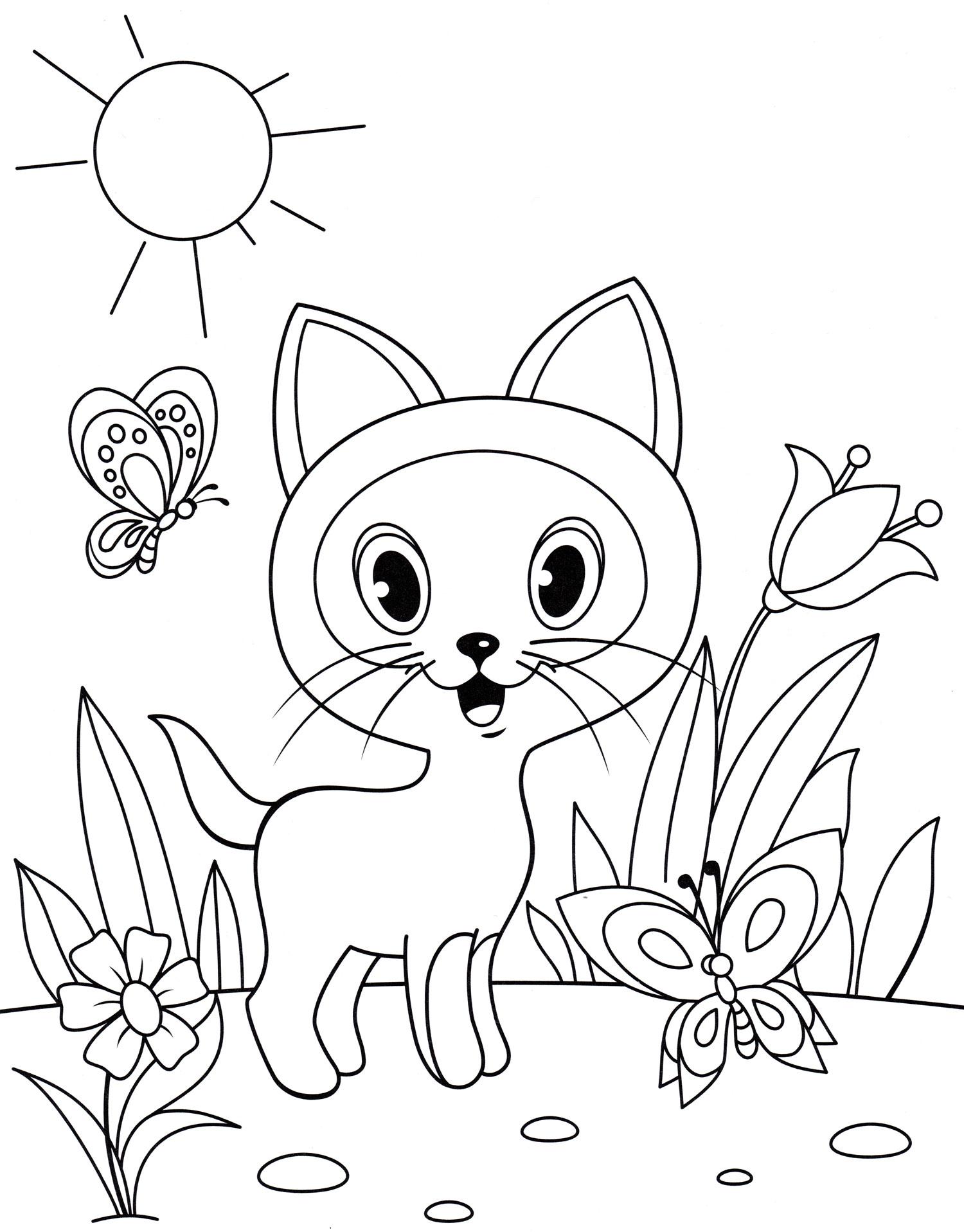 Раскраска Котенок Гав на солнышке - распечатать бесплатно