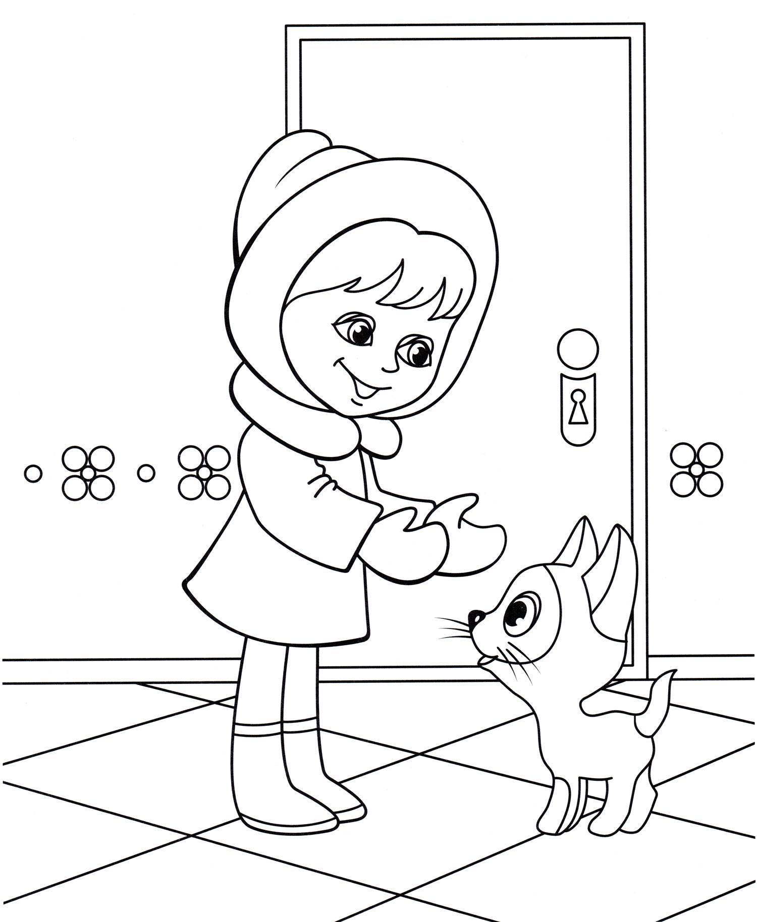 Раскраска Котенок Гав и девочка - распечатать бесплатно