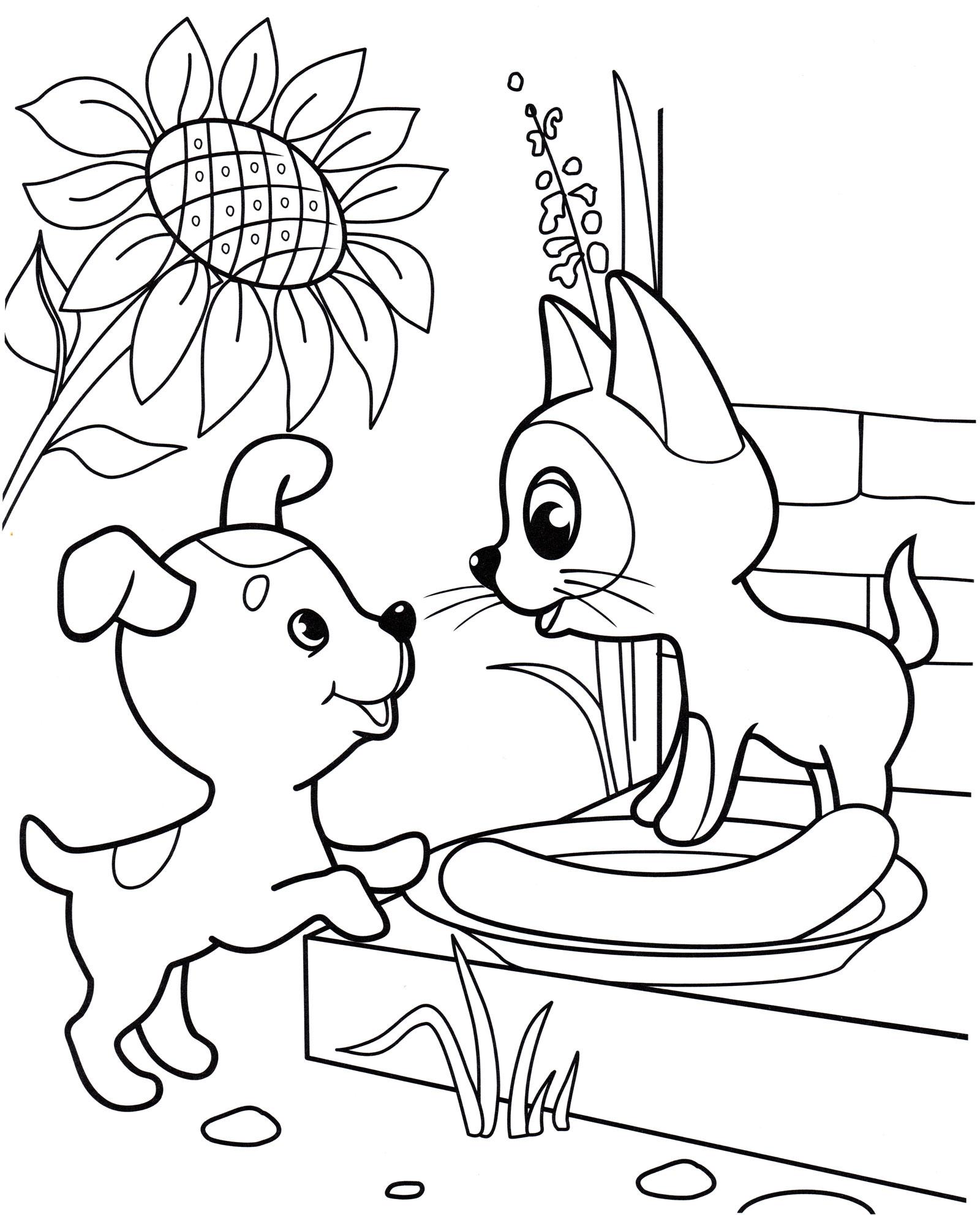 Раскраска Котенок Гав и щенок делят сосиску - распечатать ...