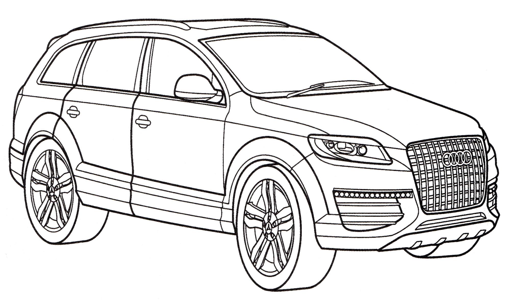 Раскраска Audi Q7 - распечатать бесплатно