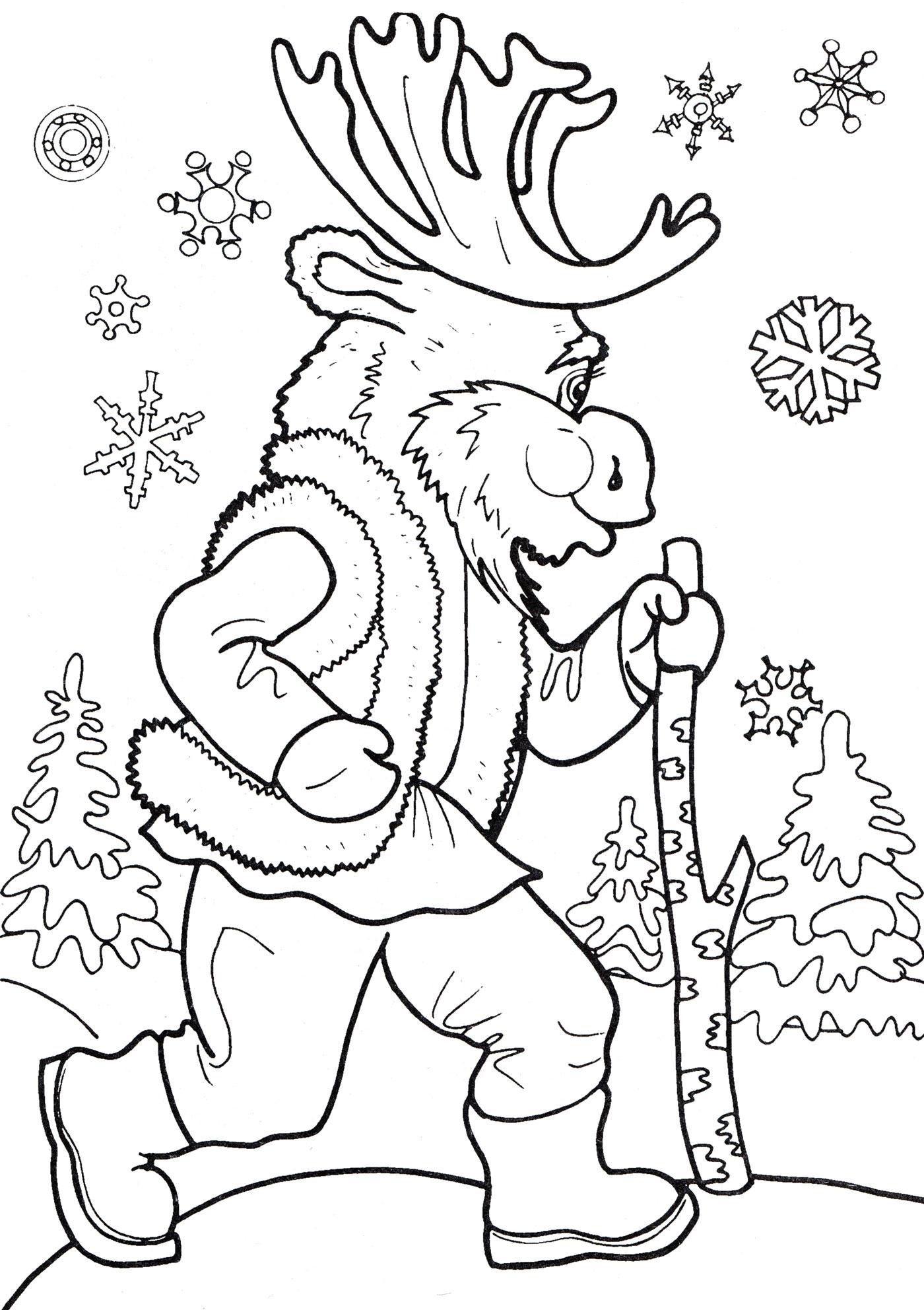 Раскраска Лось гуляет в лесу - распечатать бесплатно