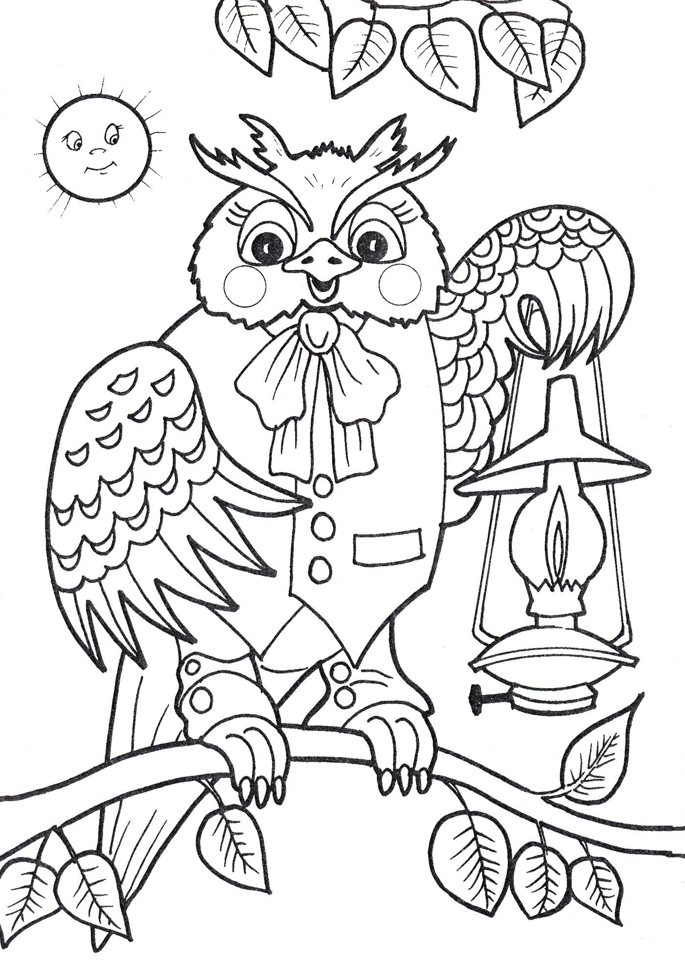 Раскраска Сова с фонарем - распечатать бесплатно