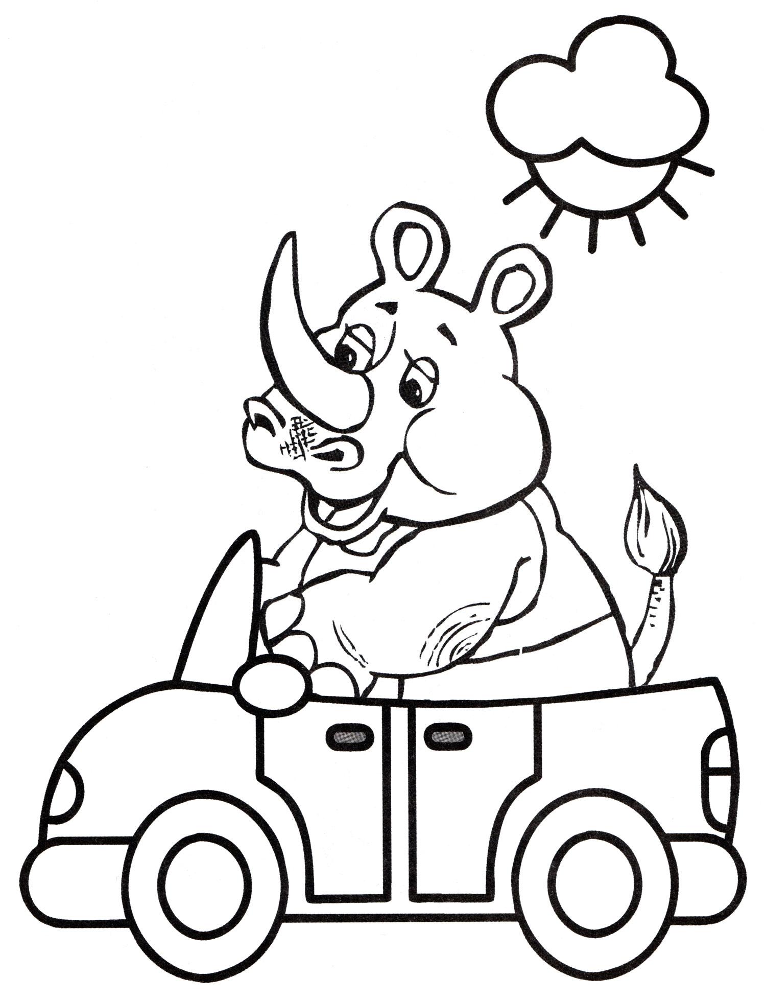 раскраска носорог катается на машине распечатать бесплатно