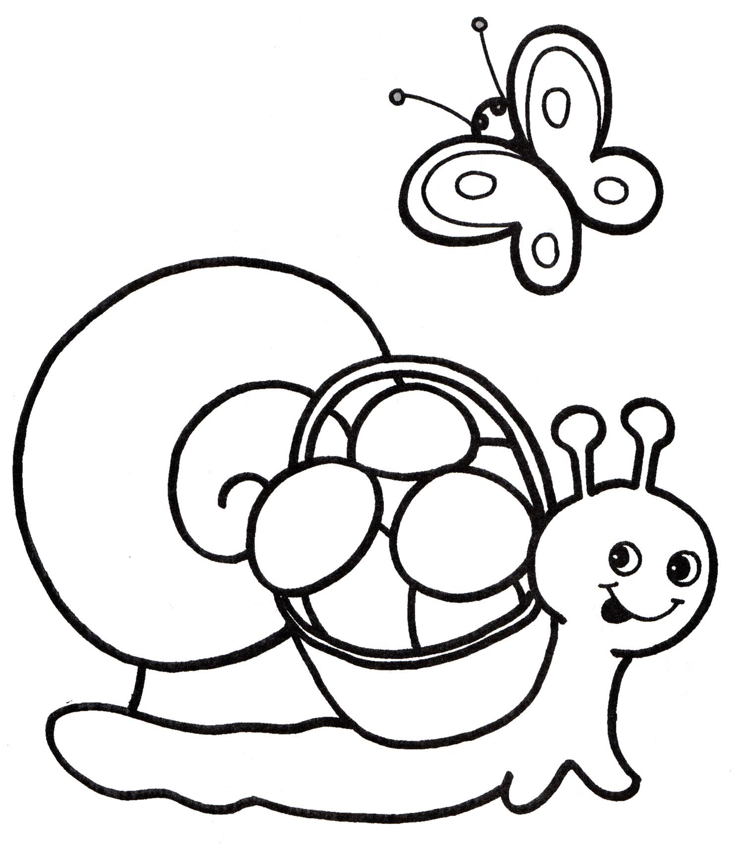 Раскраска Улитка собрала грибы - распечатать бесплатно