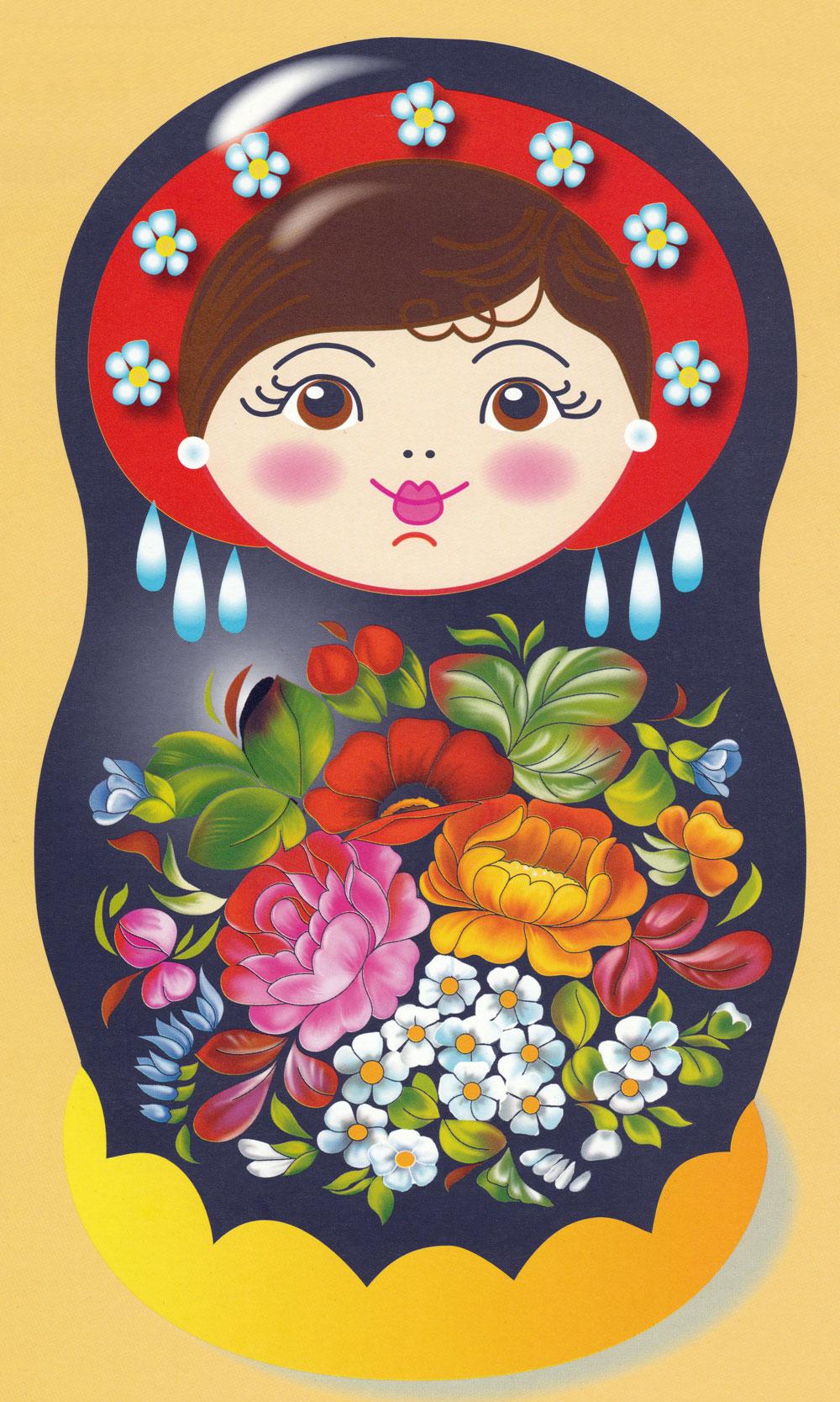 Раскраска Матрешка с цветами - распечатать бесплатно