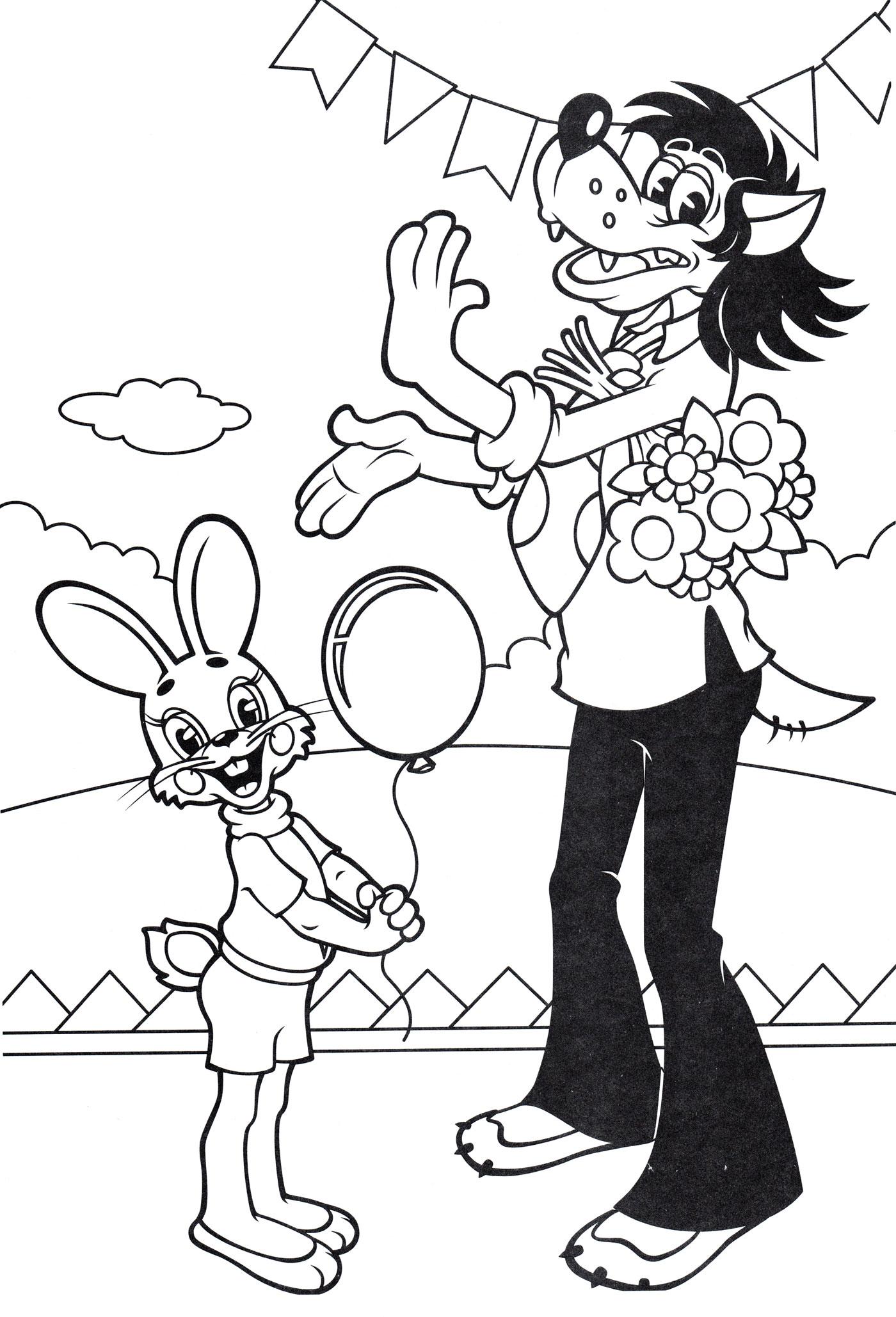 Раскраска Волк подарил зайцу шарик | Раскраски Ну погоди