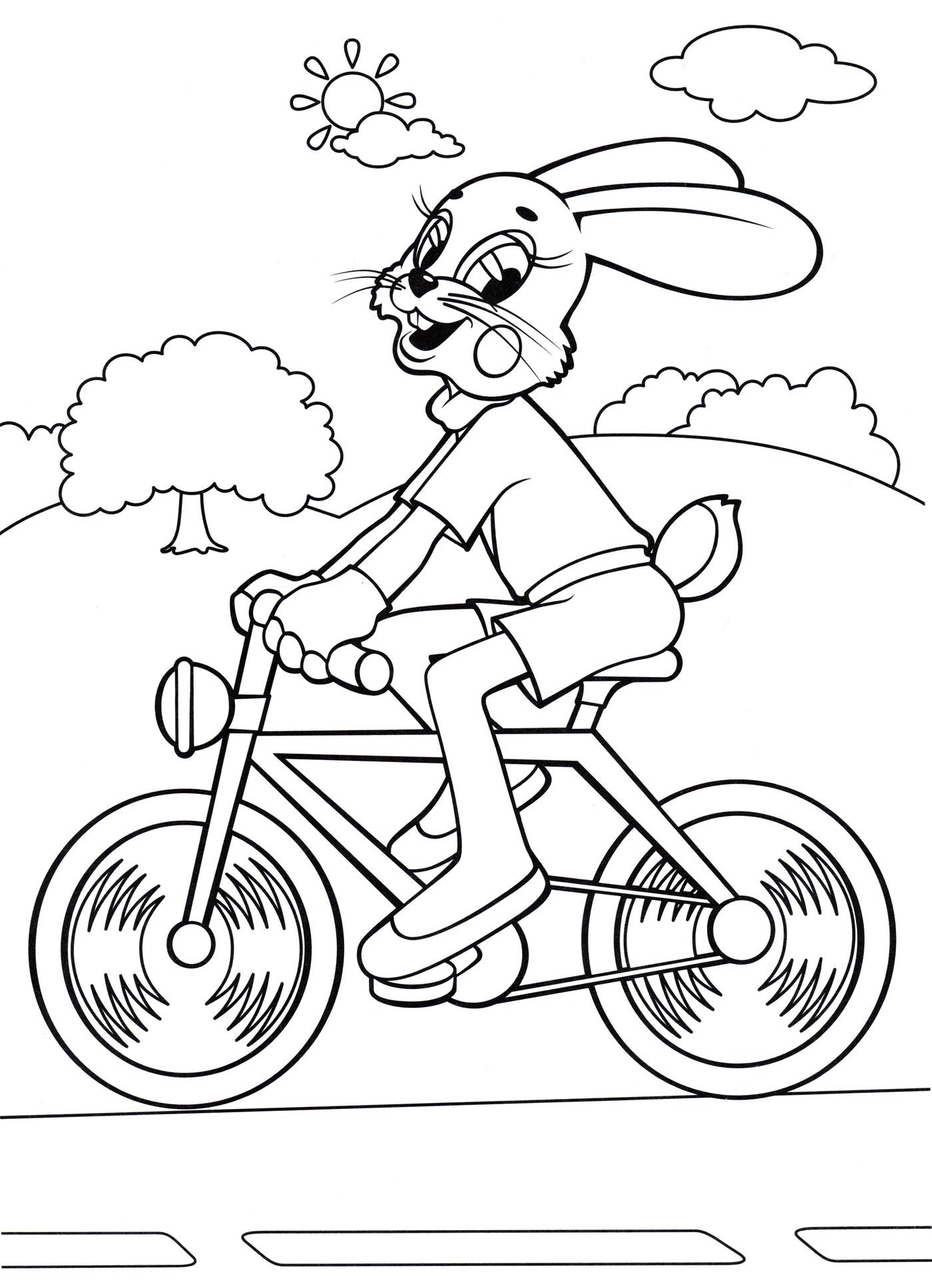 раскраска заяц на велосипеде раскраски ну погоди