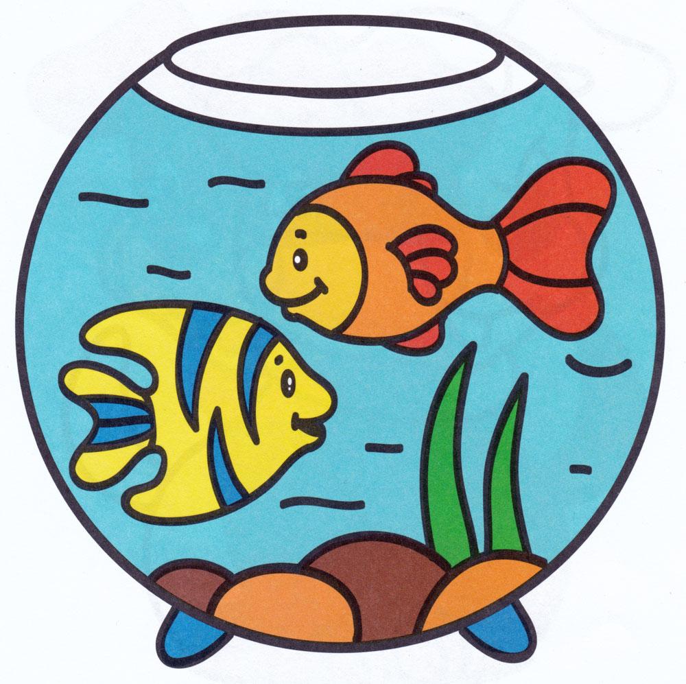 Нарисованная картинка рыбка в аквариуме