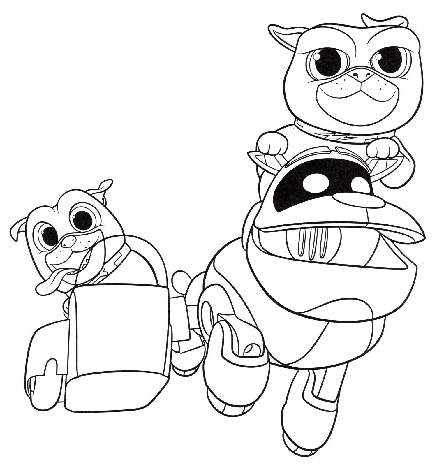 Раскраска Ролли и Бинго играют | Раскраски Дружные мопсы