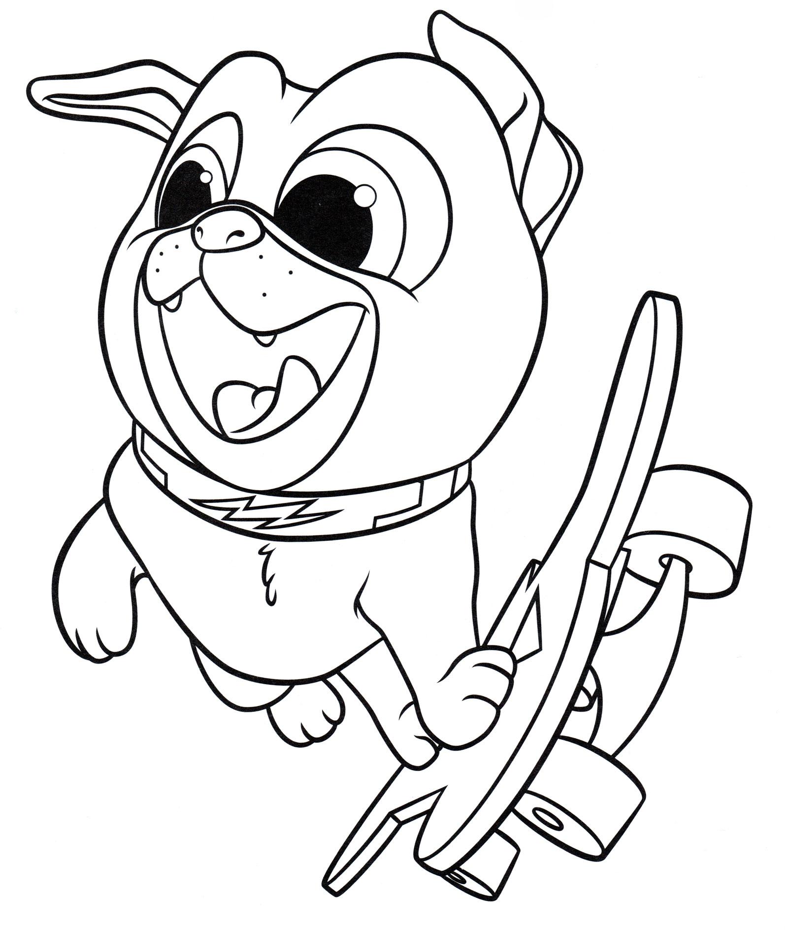 Раскраска Бинго на скейте | Раскраски Дружные мопсы
