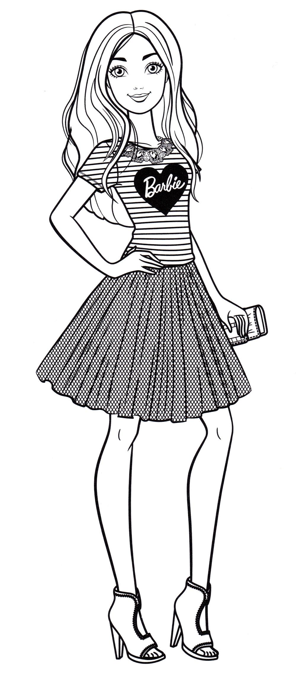Раскраска Барби в юбке - распечатать бесплатно