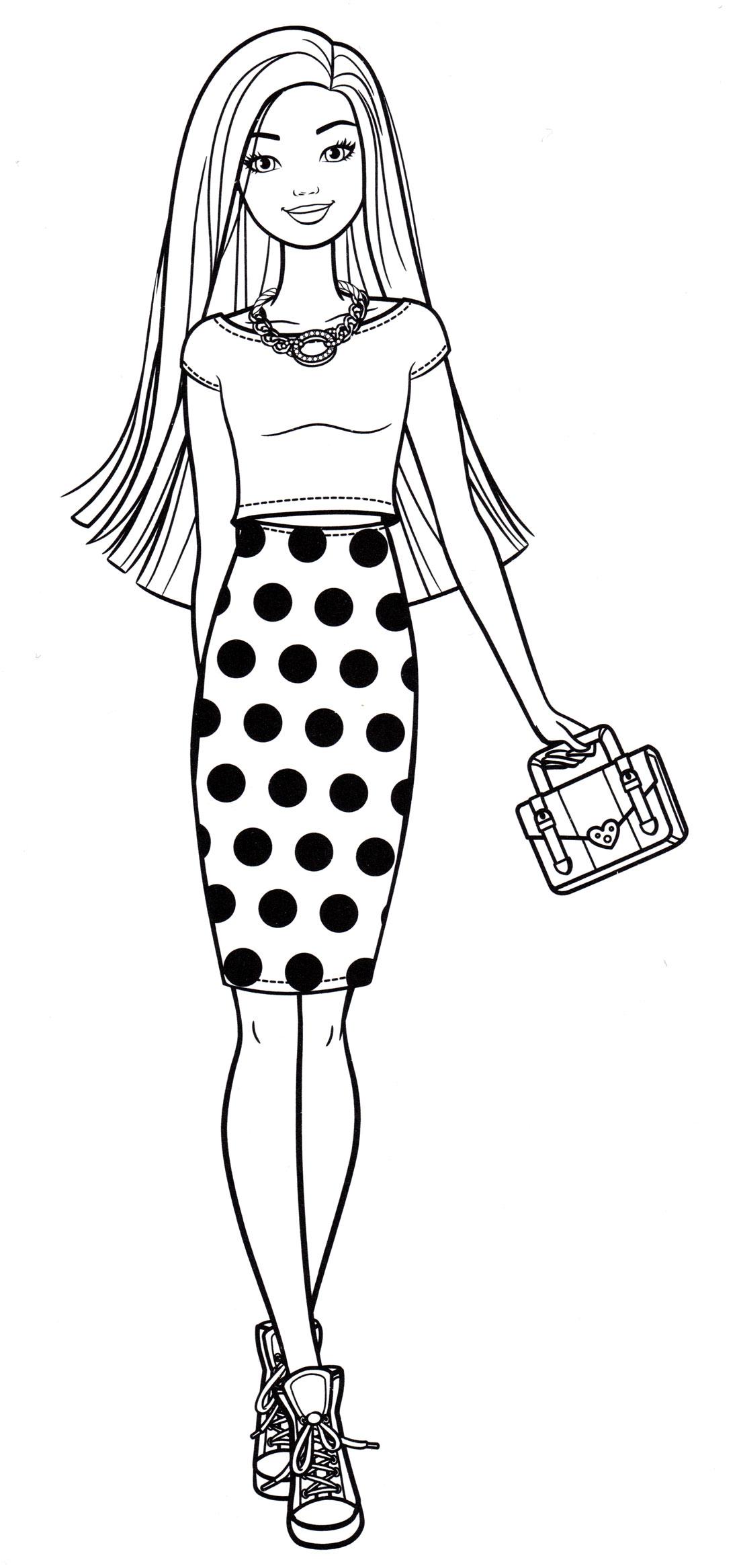 Раскраска Стильная Барби - распечатать бесплатно