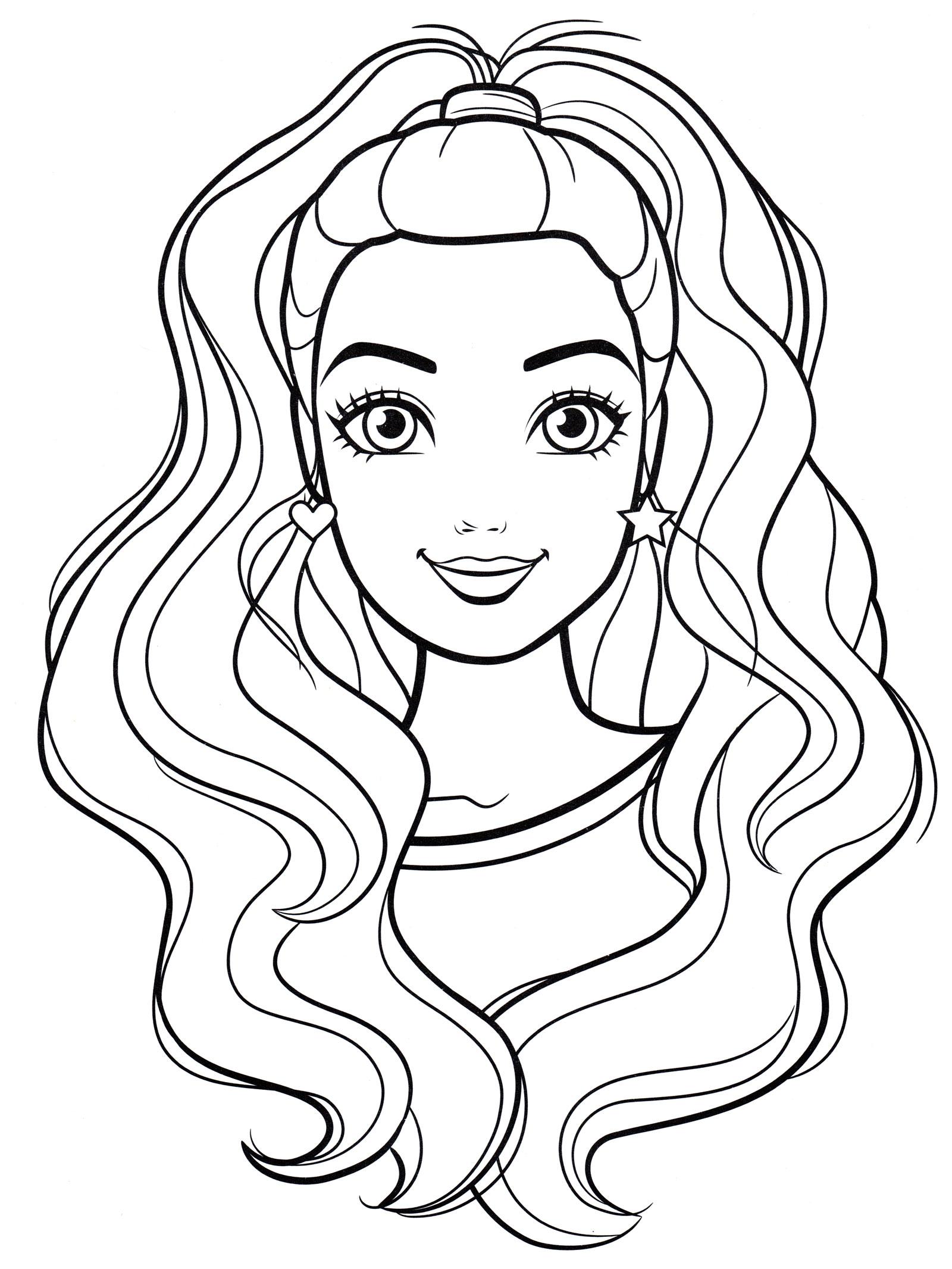 Раскраска Красивая прическа Барби - распечатать бесплатно