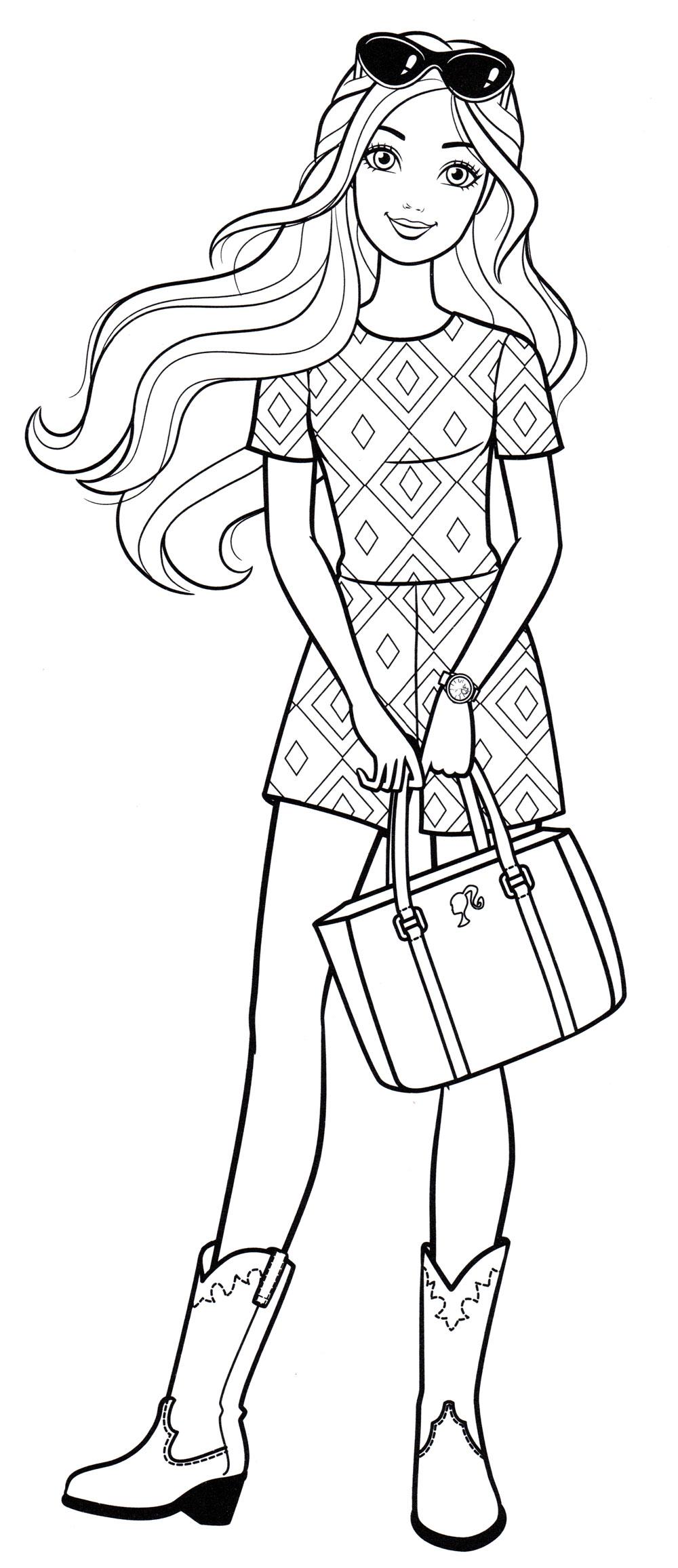 Раскраска Новый наряд Барби - распечатать бесплатно