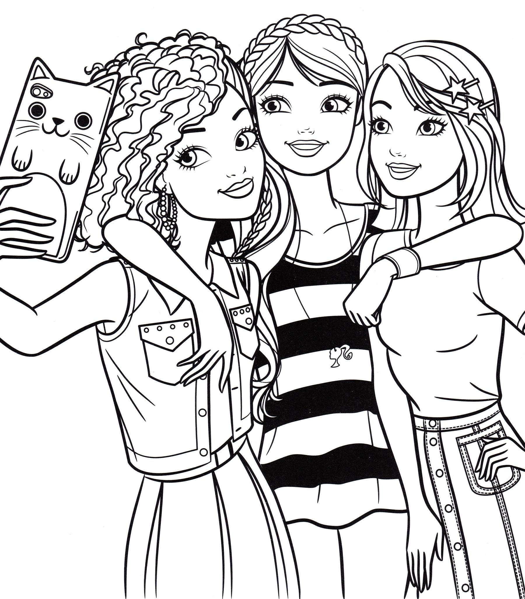 Раскраска Барби фотографируется с подругами - распечатать ...