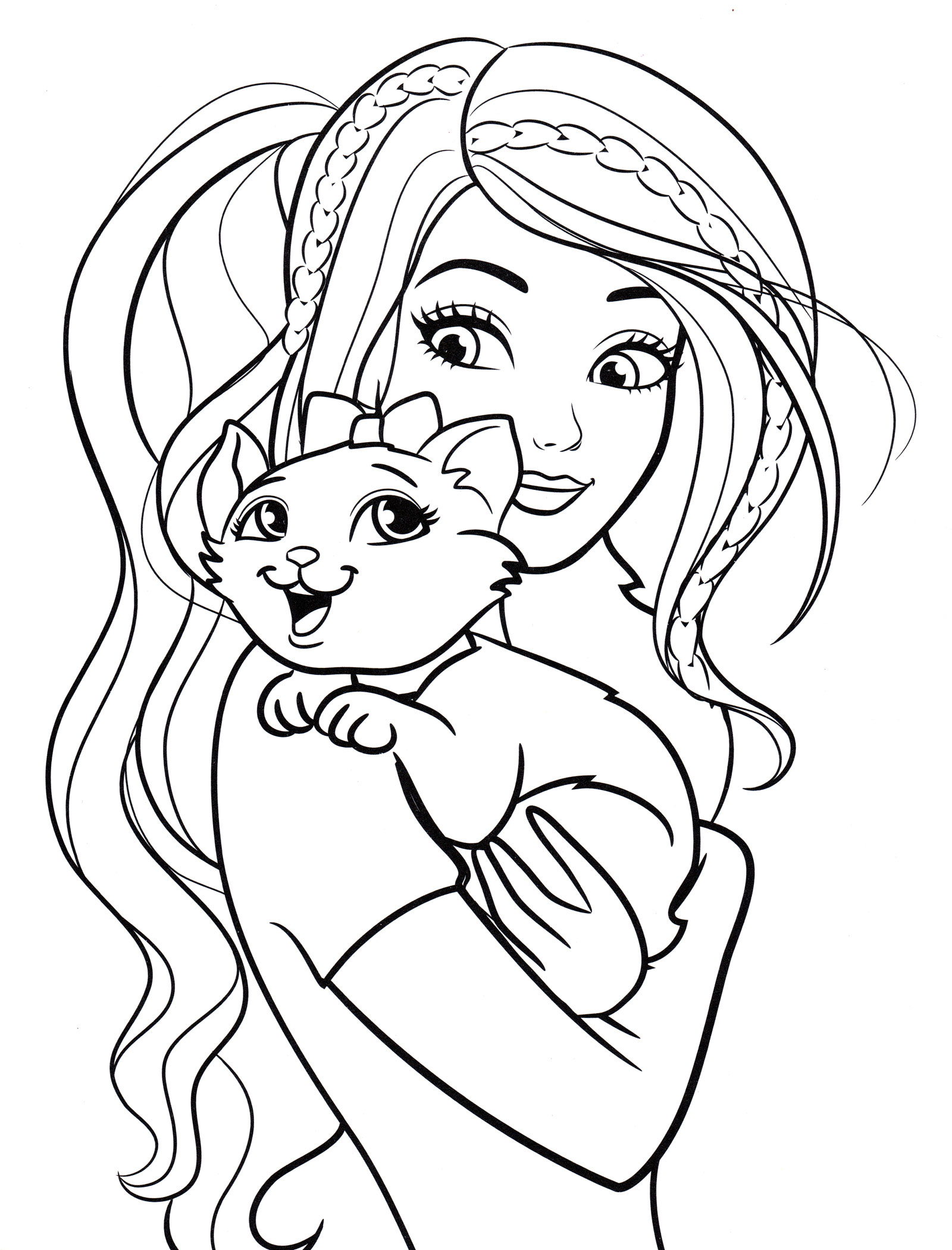 Раскраска Барби и кошка Блисса - распечатать бесплатно