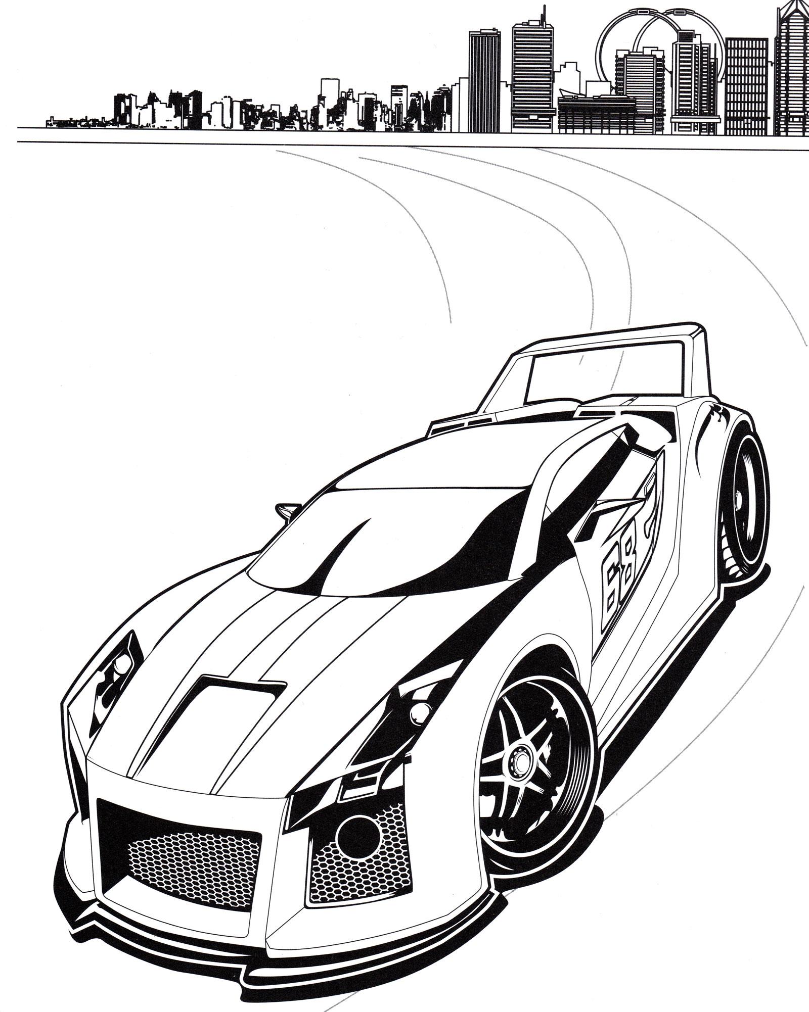 Раскраска Стильный спорткар Хот Вилс - распечатать бесплатно