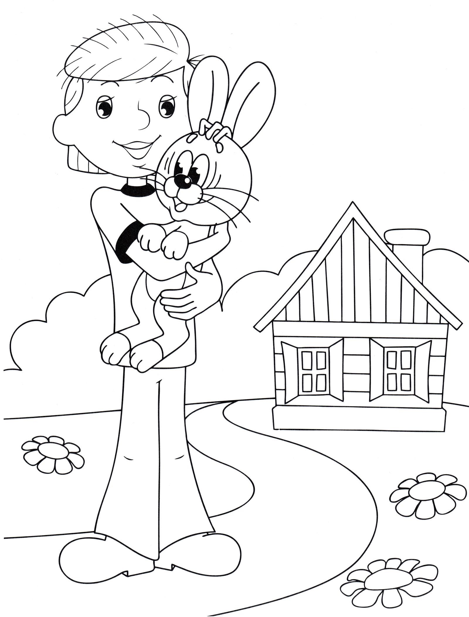 Раскраска Дядя Фёдор и заяц | Раскраски Простоквашино