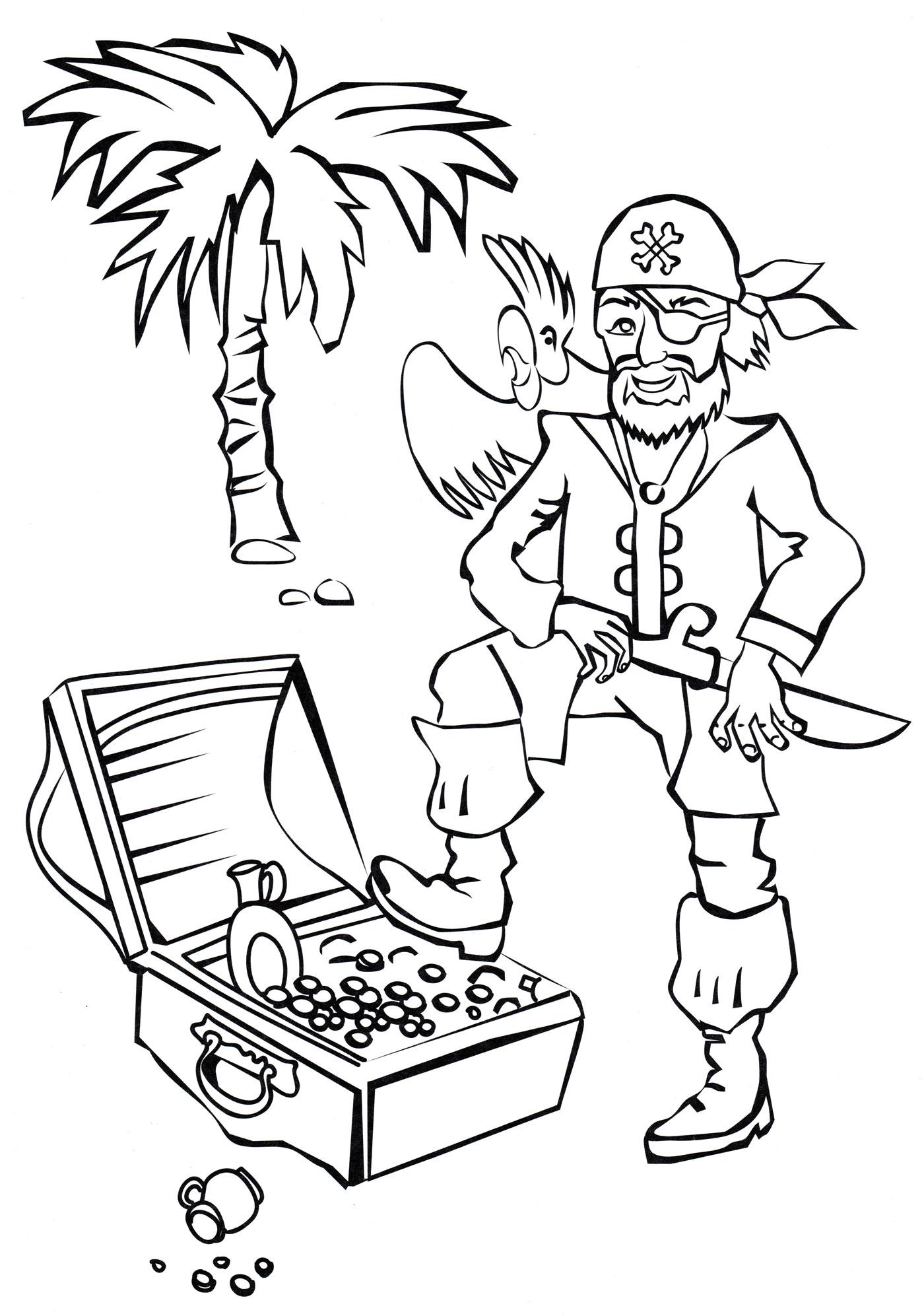 Раскраска Пират и сундук с сокровищами - распечатать бесплатно