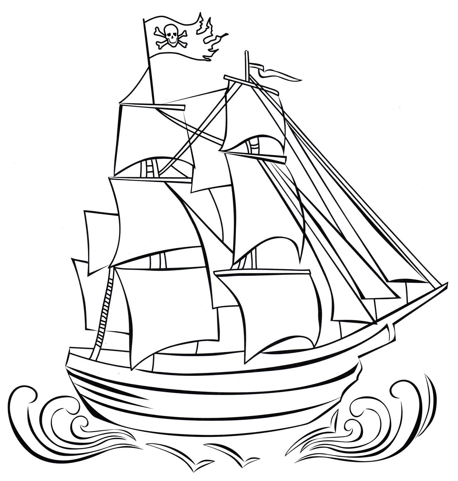 Раскраска Пиратский корабль - распечатать бесплатно