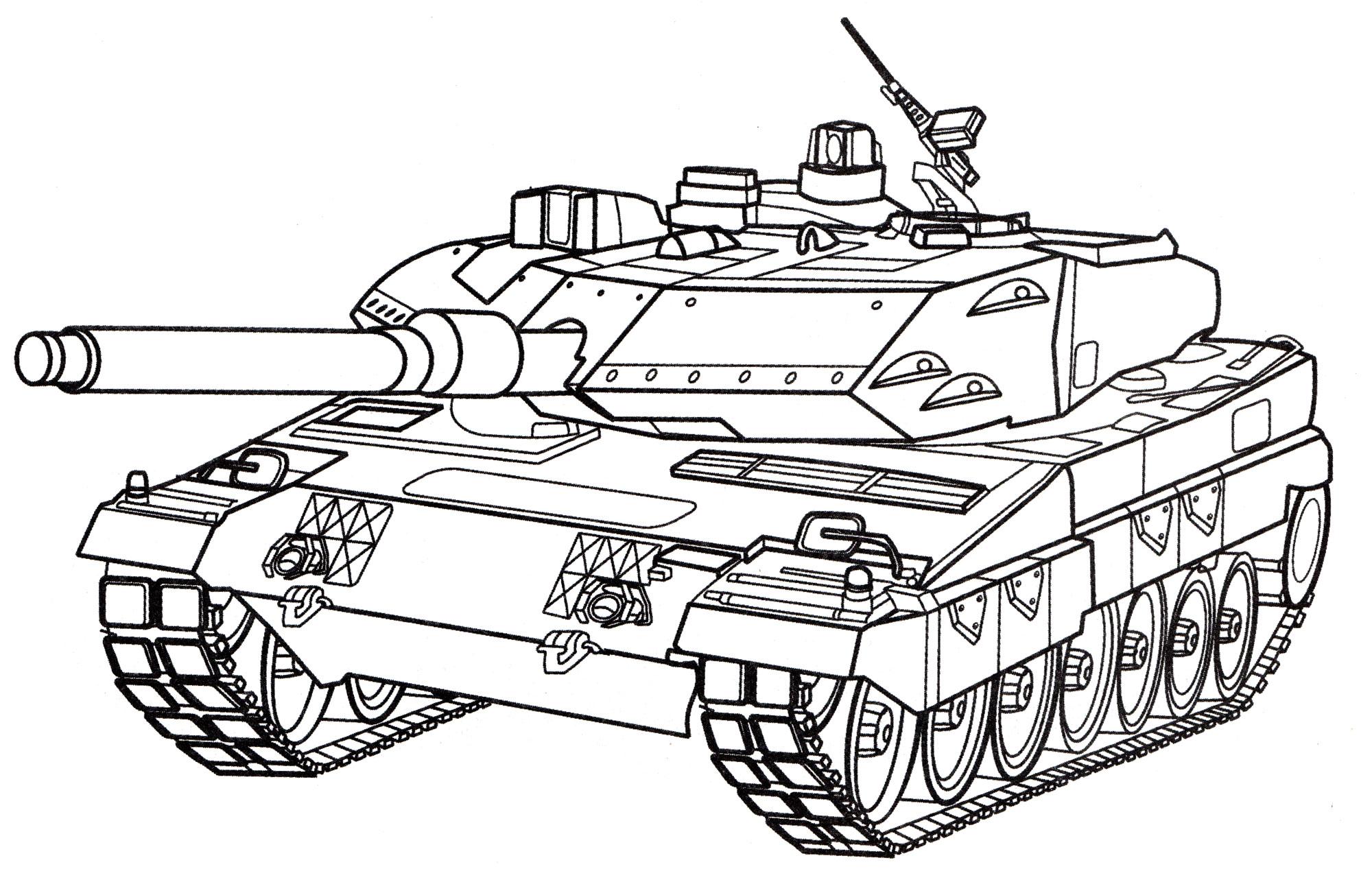 раскраска танк Leopard 2 распечатать бесплатно