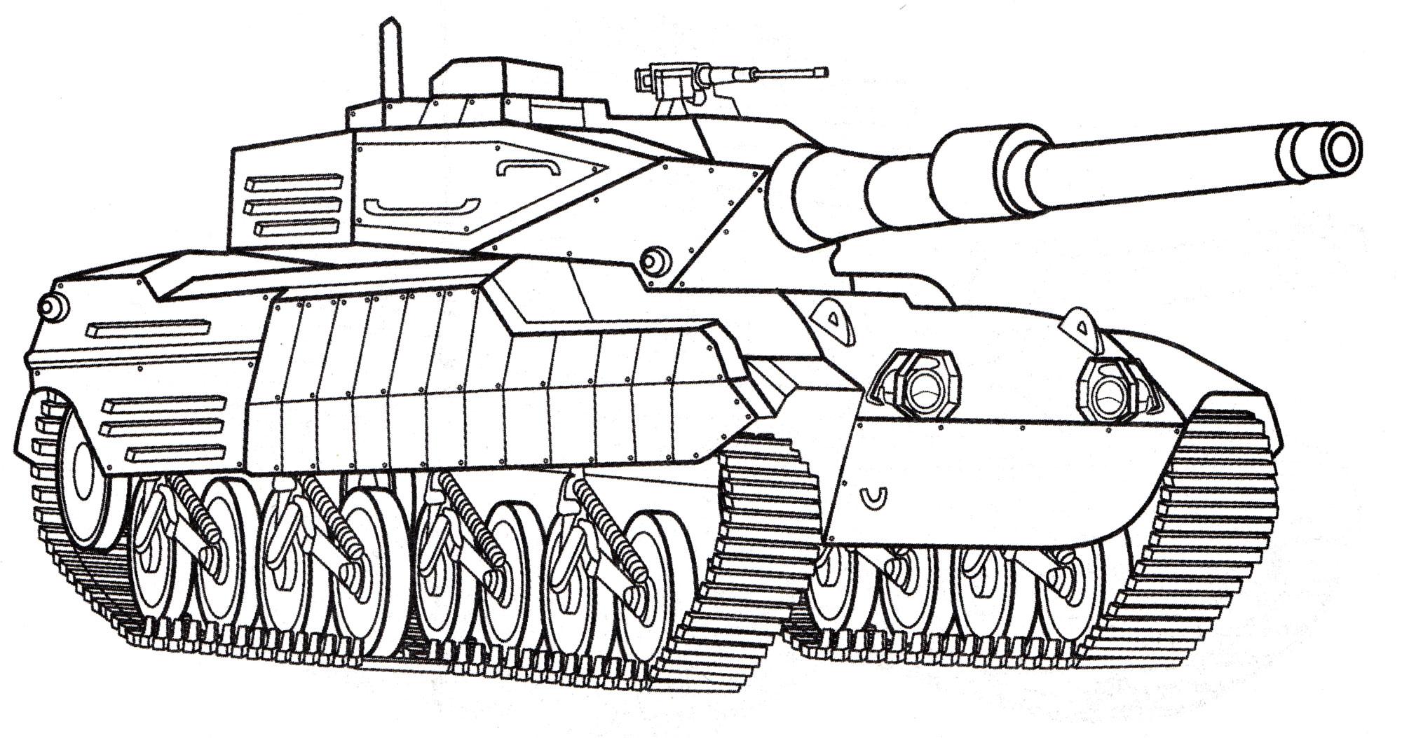 Раскраска Танк Stingray 2 - распечатать бесплатно