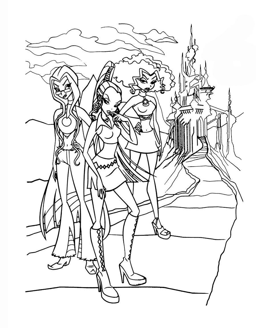 Раскраска Ведьмы Трикс вместе - распечатать бесплатно