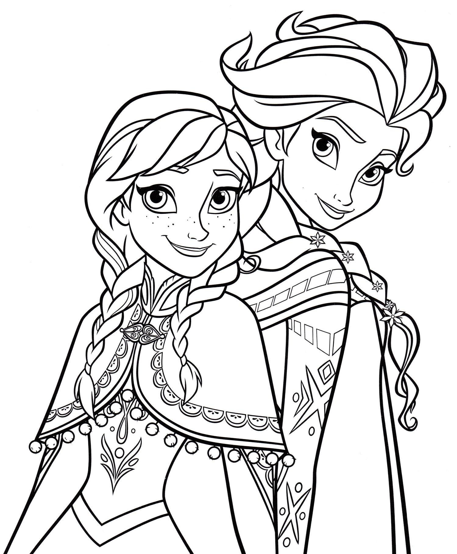 Раскраска Портрет Эльзы и Анны | Раскраски Холодное сердце