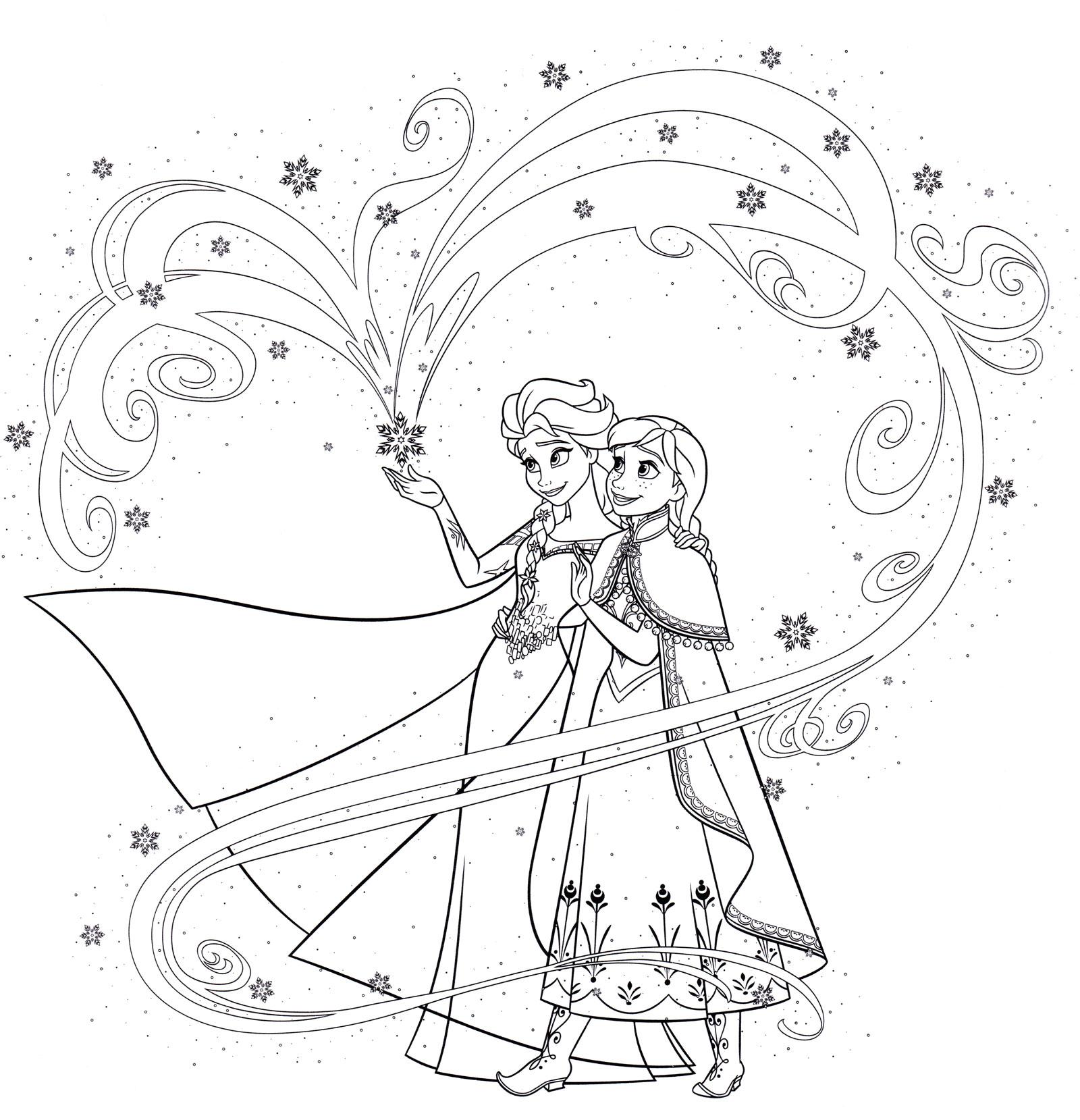 Раскраска Эльза показываем магию | Раскраски Холодное сердце