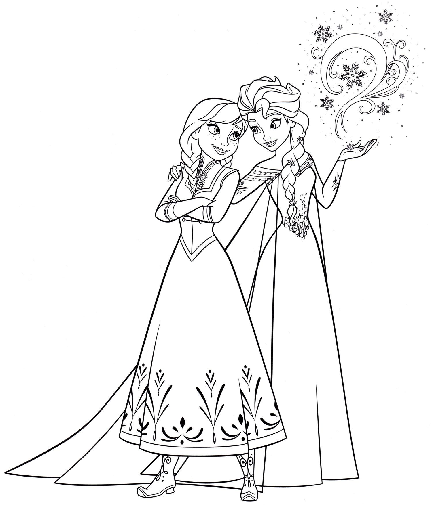 Раскраска Анна и Эльза | Раскраски Холодное сердце