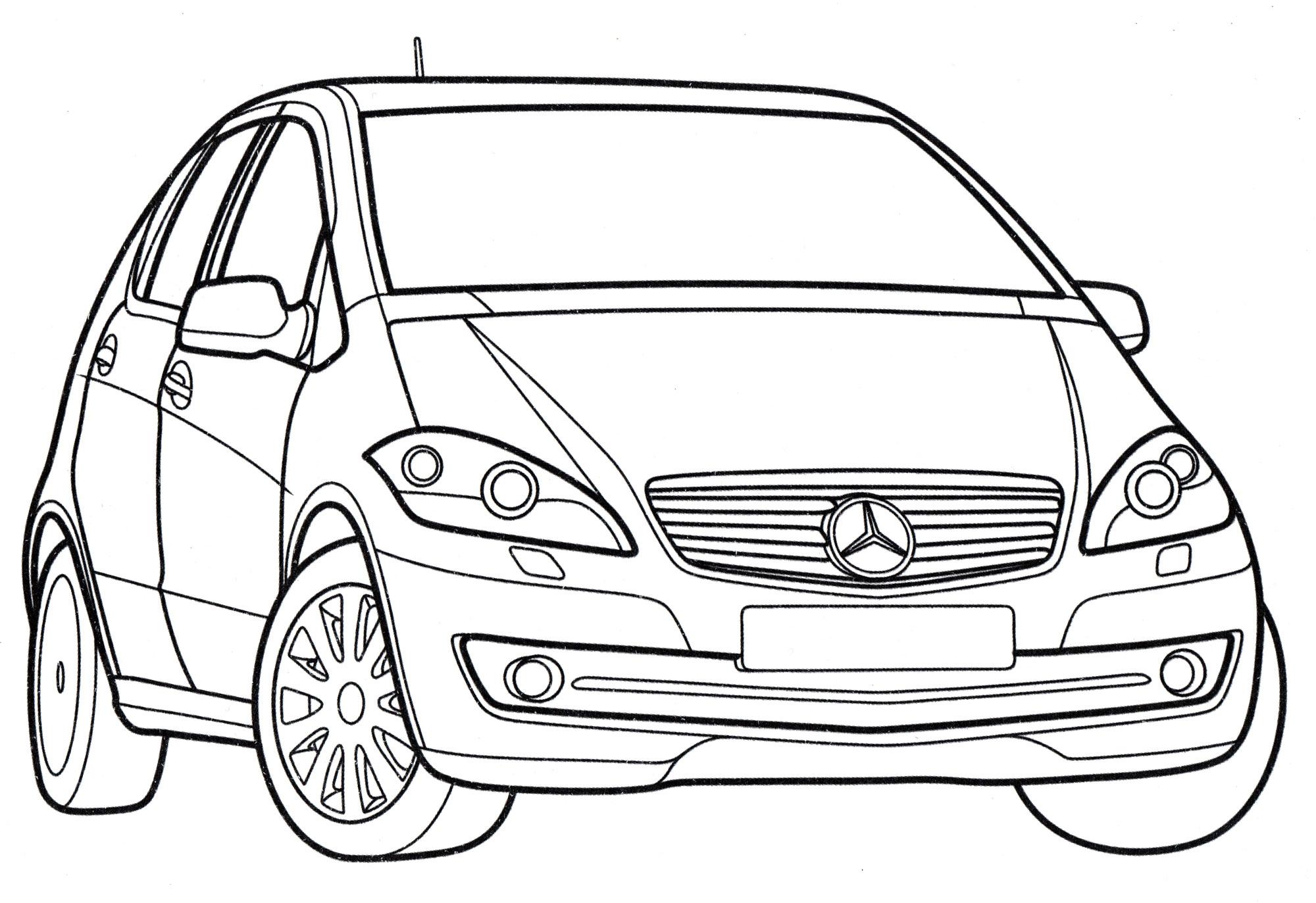 Раскраска Mercedes A-class - распечатать бесплатно