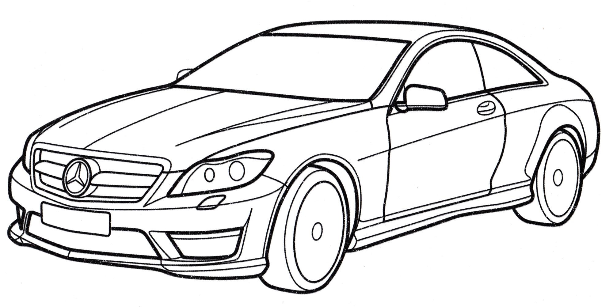 Раскраска Mercedes CL-class - распечатать бесплатно