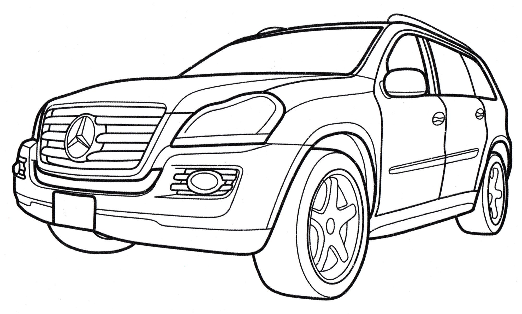 Раскраска Mercedes GL-class - распечатать бесплатно
