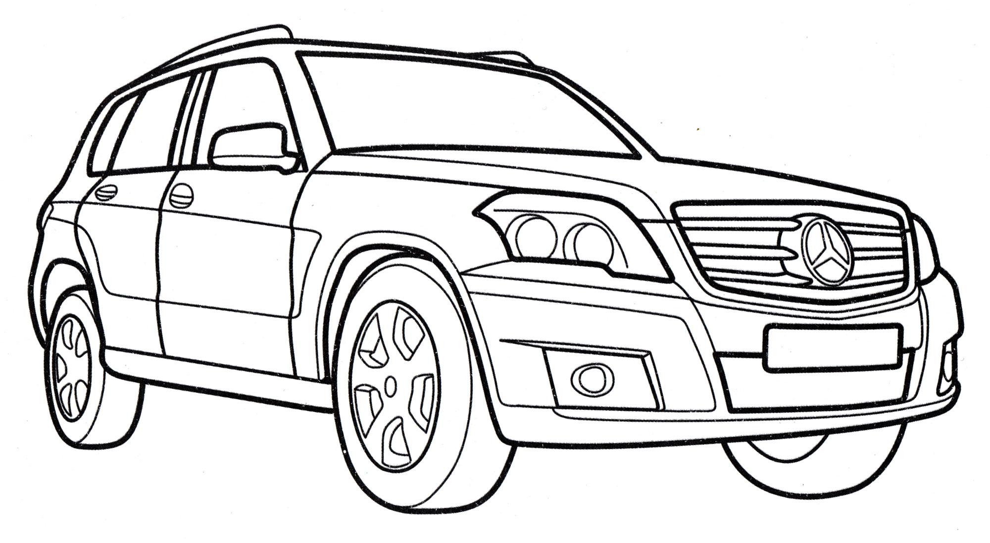 Раскраска Mercedes GLK-class - распечатать бесплатно