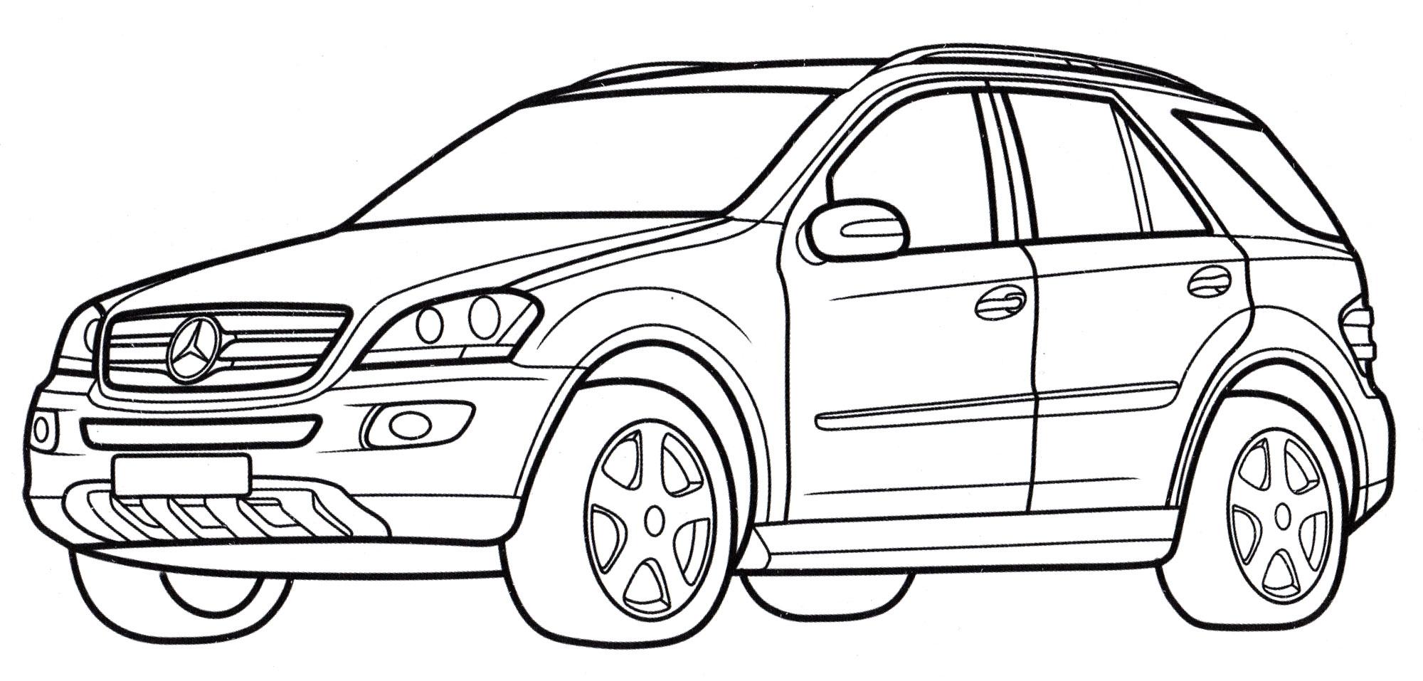 Раскраска Mercedes M-class - распечатать бесплатно