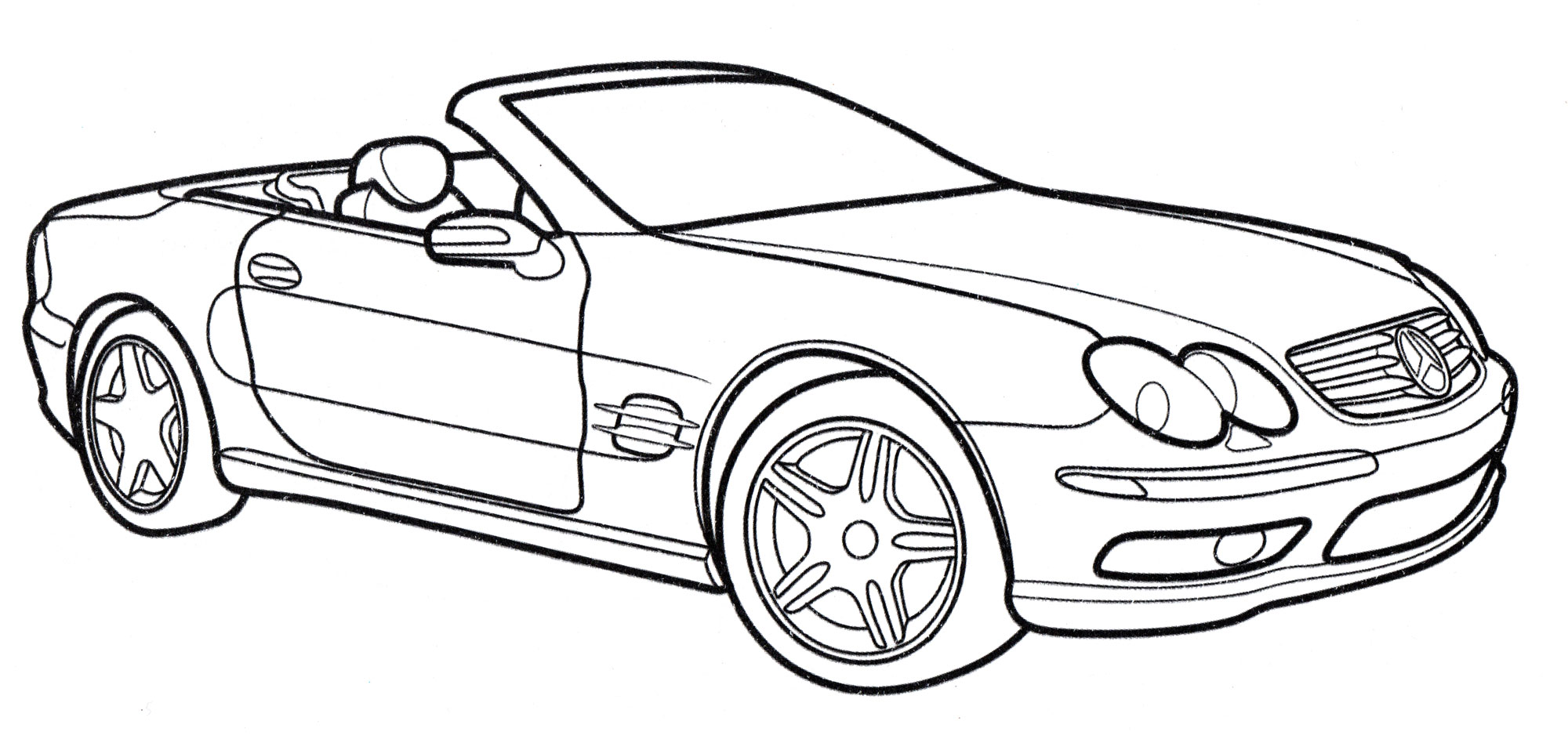 Раскраска Mercedes SL-class - распечатать бесплатно