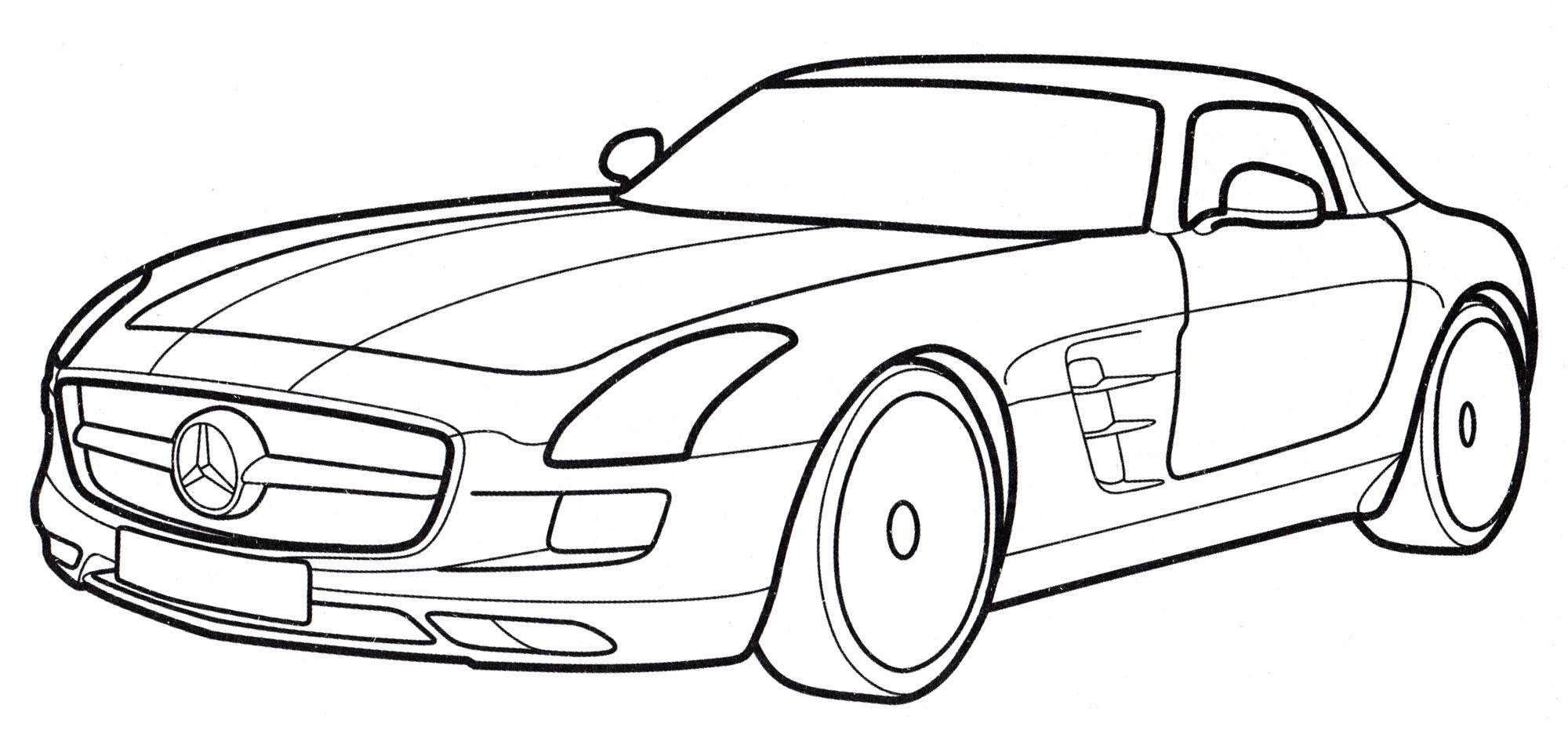 Раскраска Mercedes SLS AMG - распечатать бесплатно