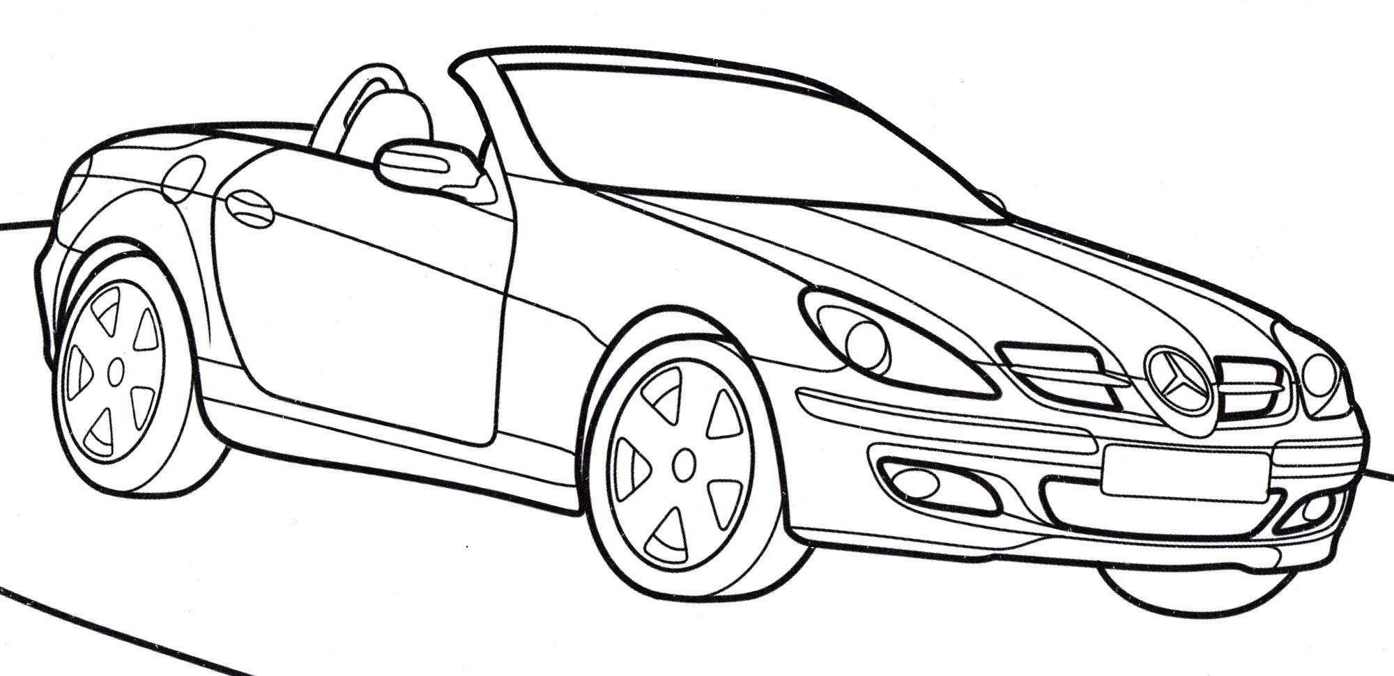 Раскраска Mercedes SLK - распечатать бесплатно