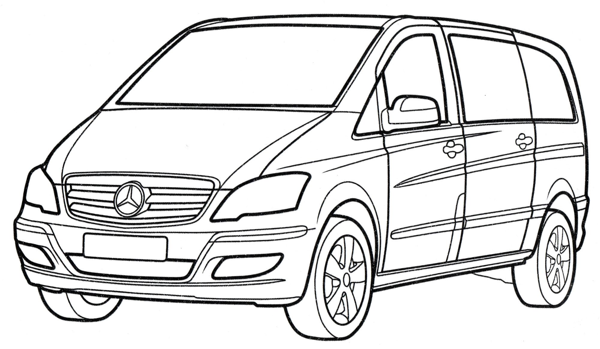 Раскраска Mercedes Viano - распечатать бесплатно