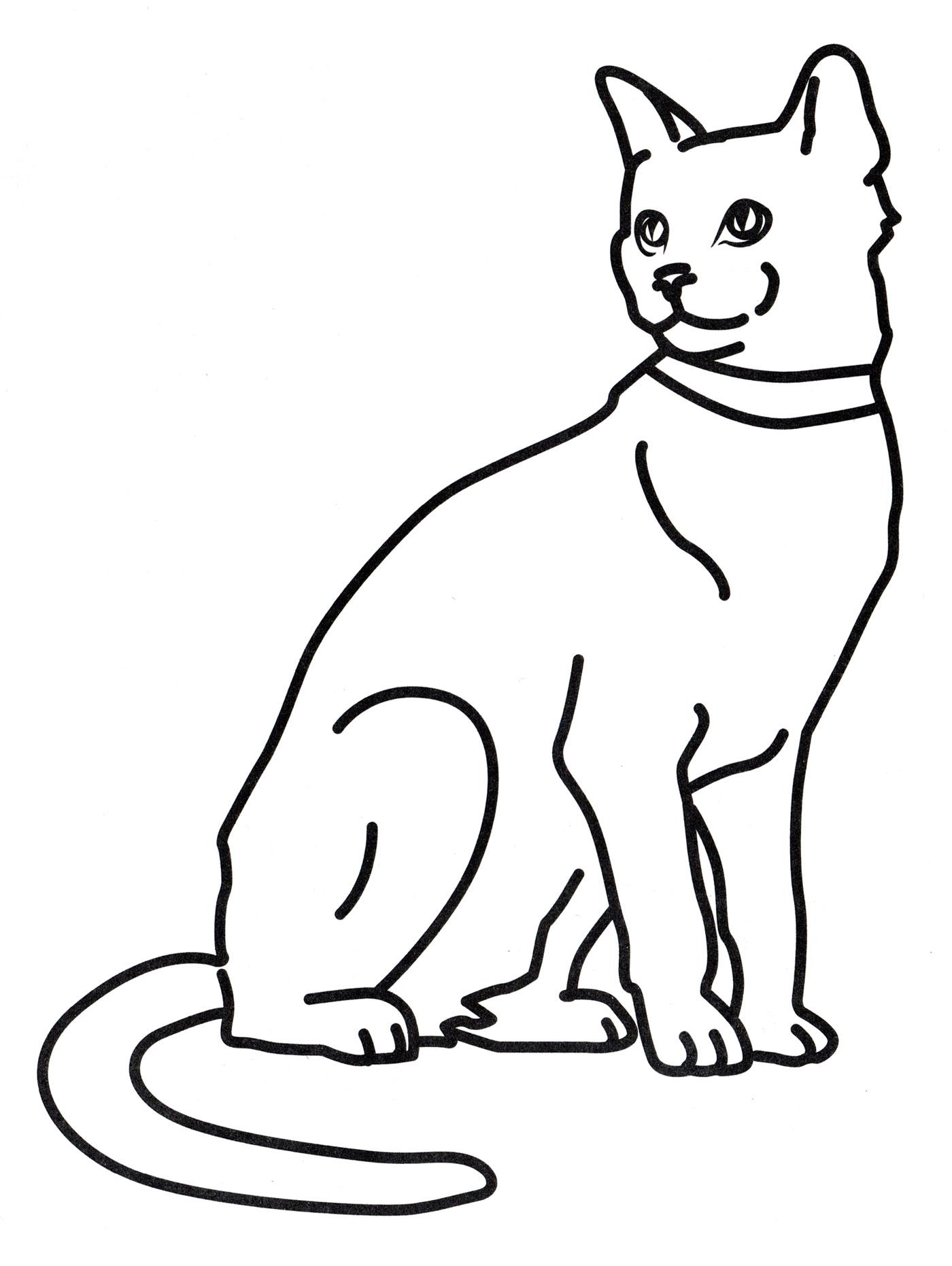 Раскраска Кошка на отдыхе - распечатать бесплатно