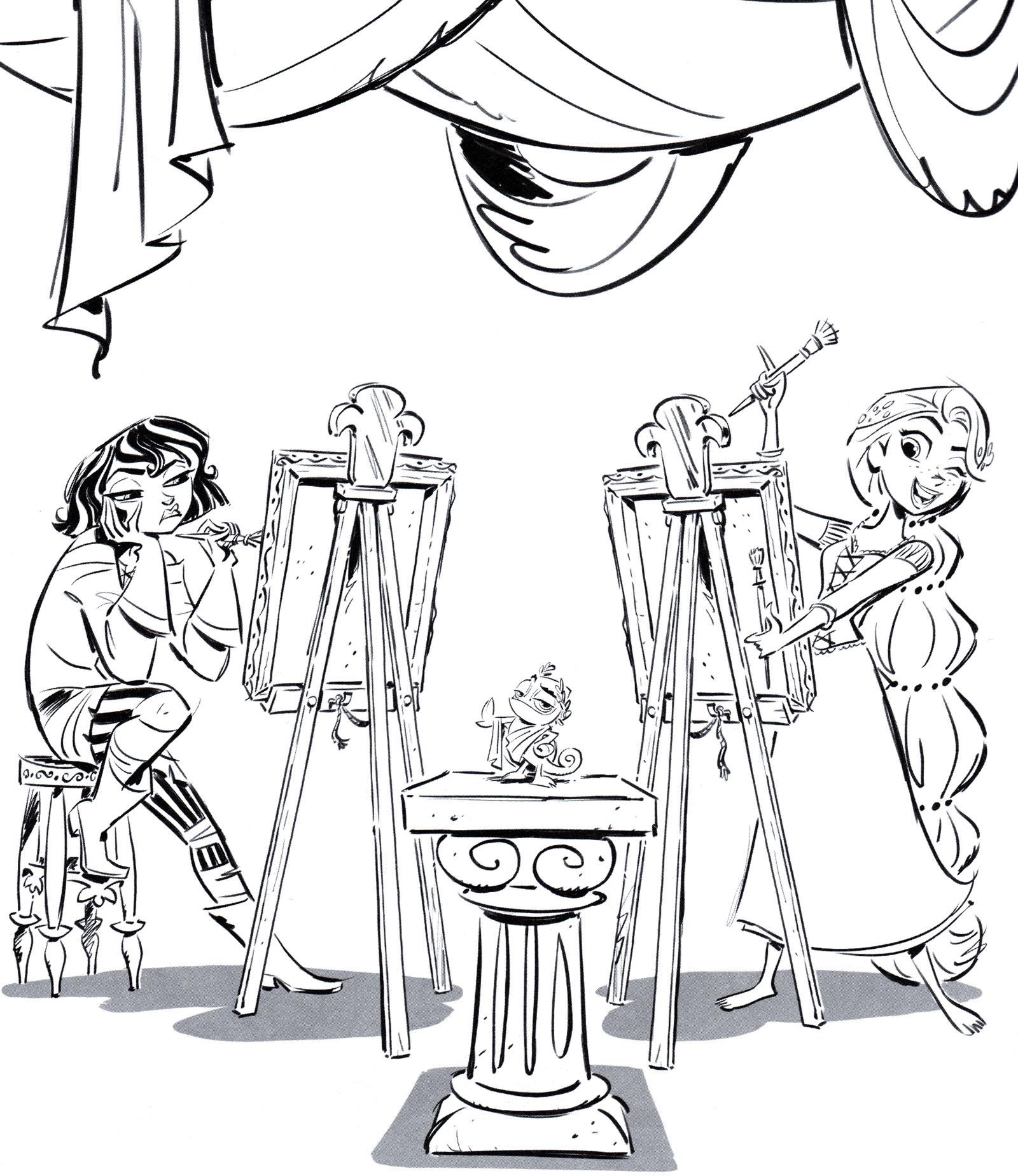 Раскраска Кассандра и Рапунцель рисуют - распечатать бесплатно