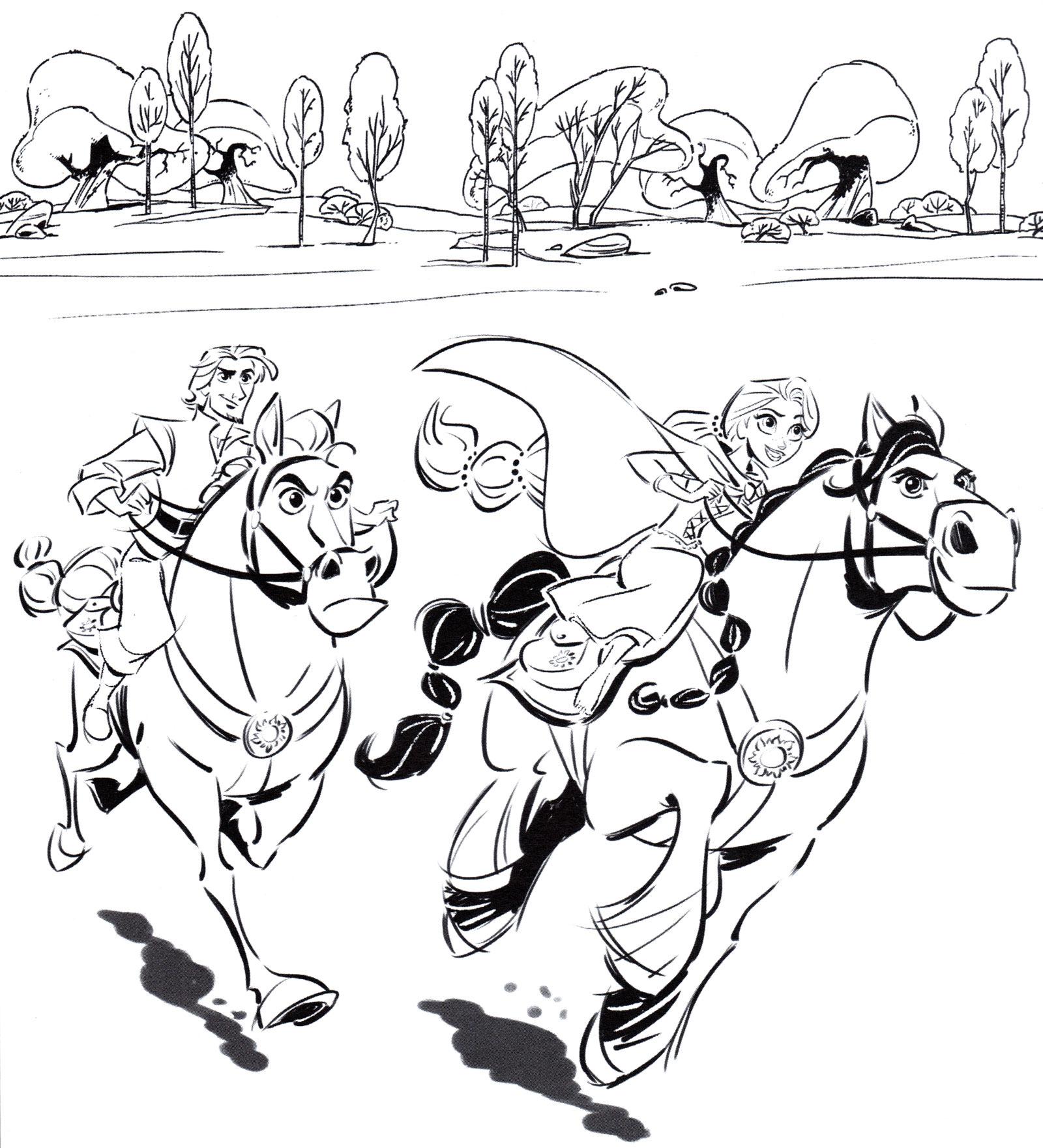 Раскраска Рапунцель и Юджин на лошадях - распечатать бесплатно