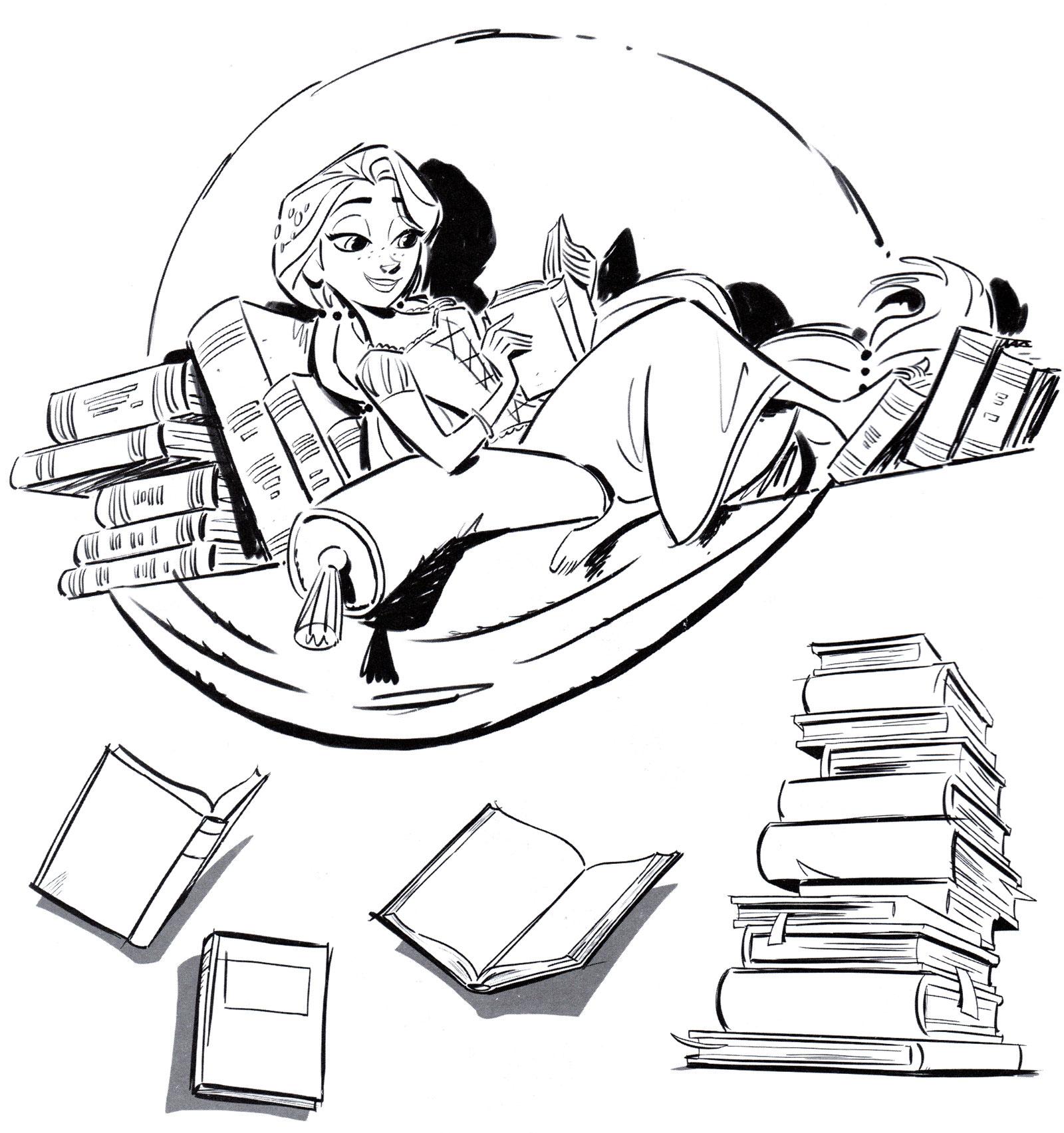 Раскраска Рапунцель читает книги - распечатать бесплатно