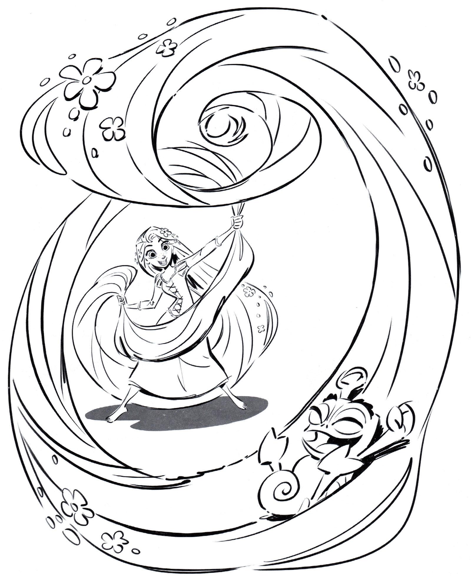 Раскраска Рапунцель и ее волшебные волосы - распечатать ...