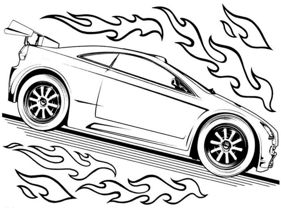 Раскраска Машина в огне - распечатать бесплатно