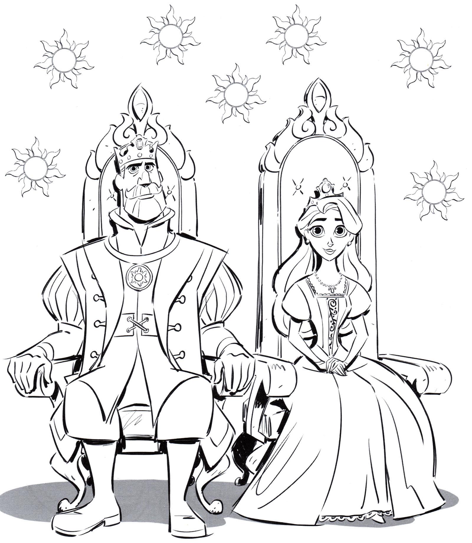Раскраска Родители принцессы Рапунцель - распечатать бесплатно