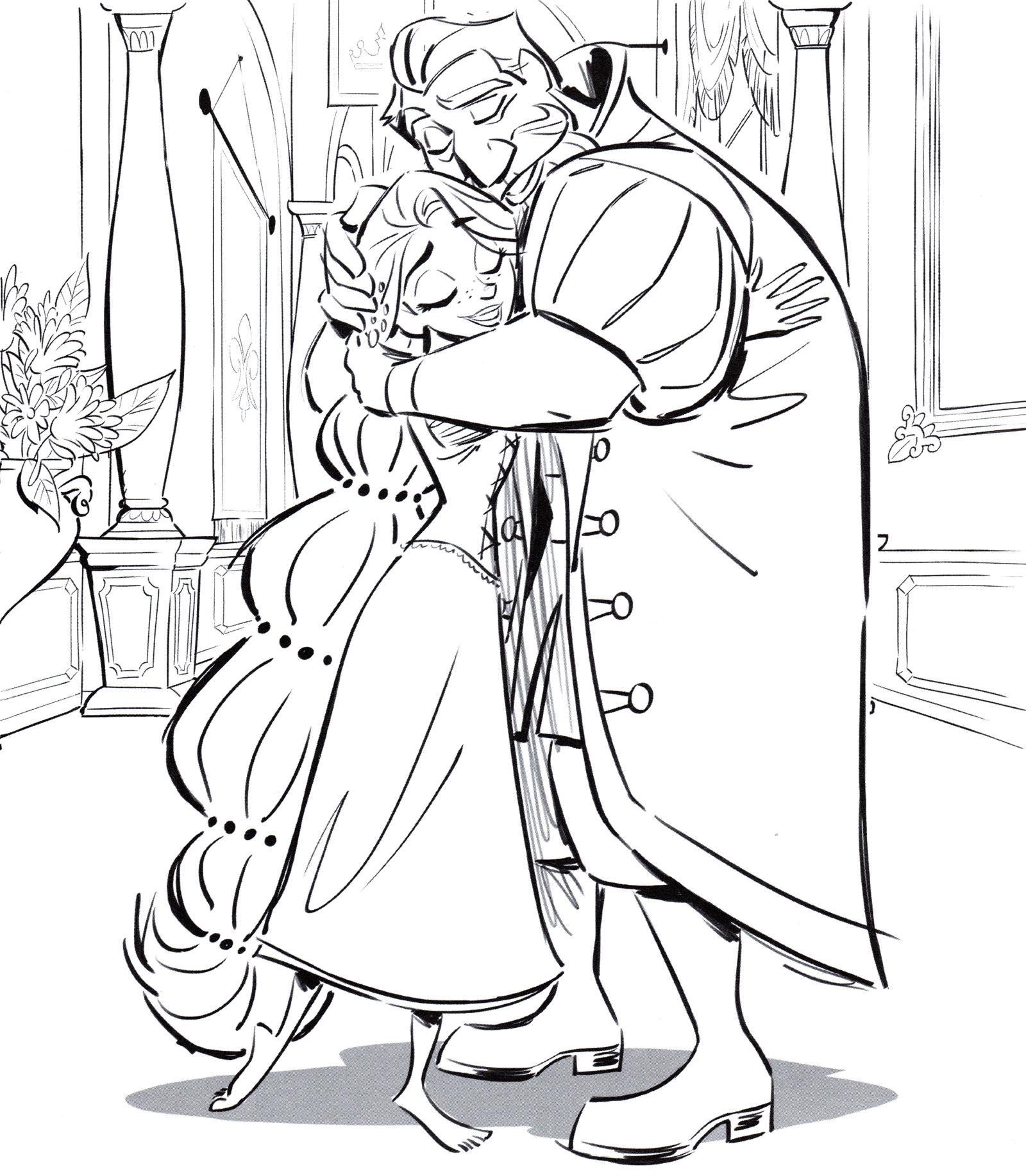 Раскраска Рапунцель обнимает отца - распечатать бесплатно