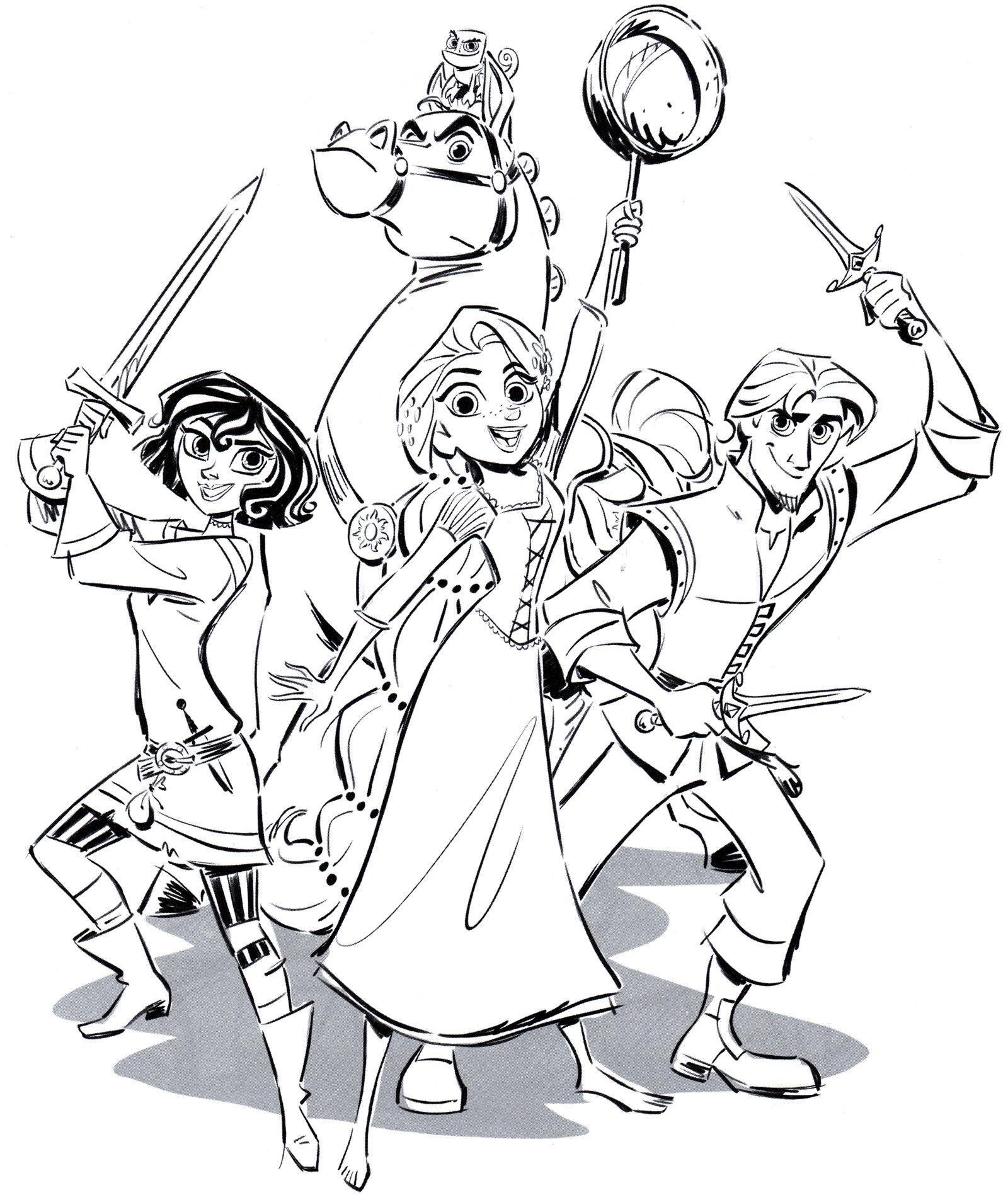 Раскраска Рапунцель и ее друзья - распечатать бесплатно