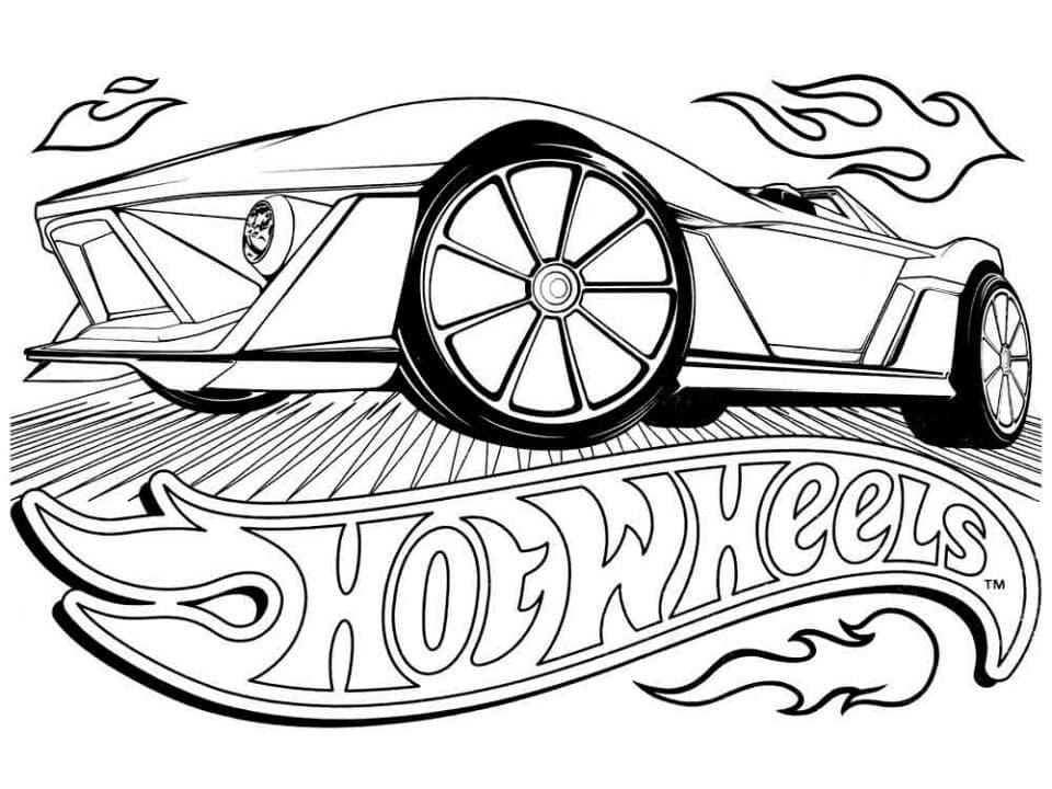 Раскраска Логотип Хот Вилс - распечатать бесплатно